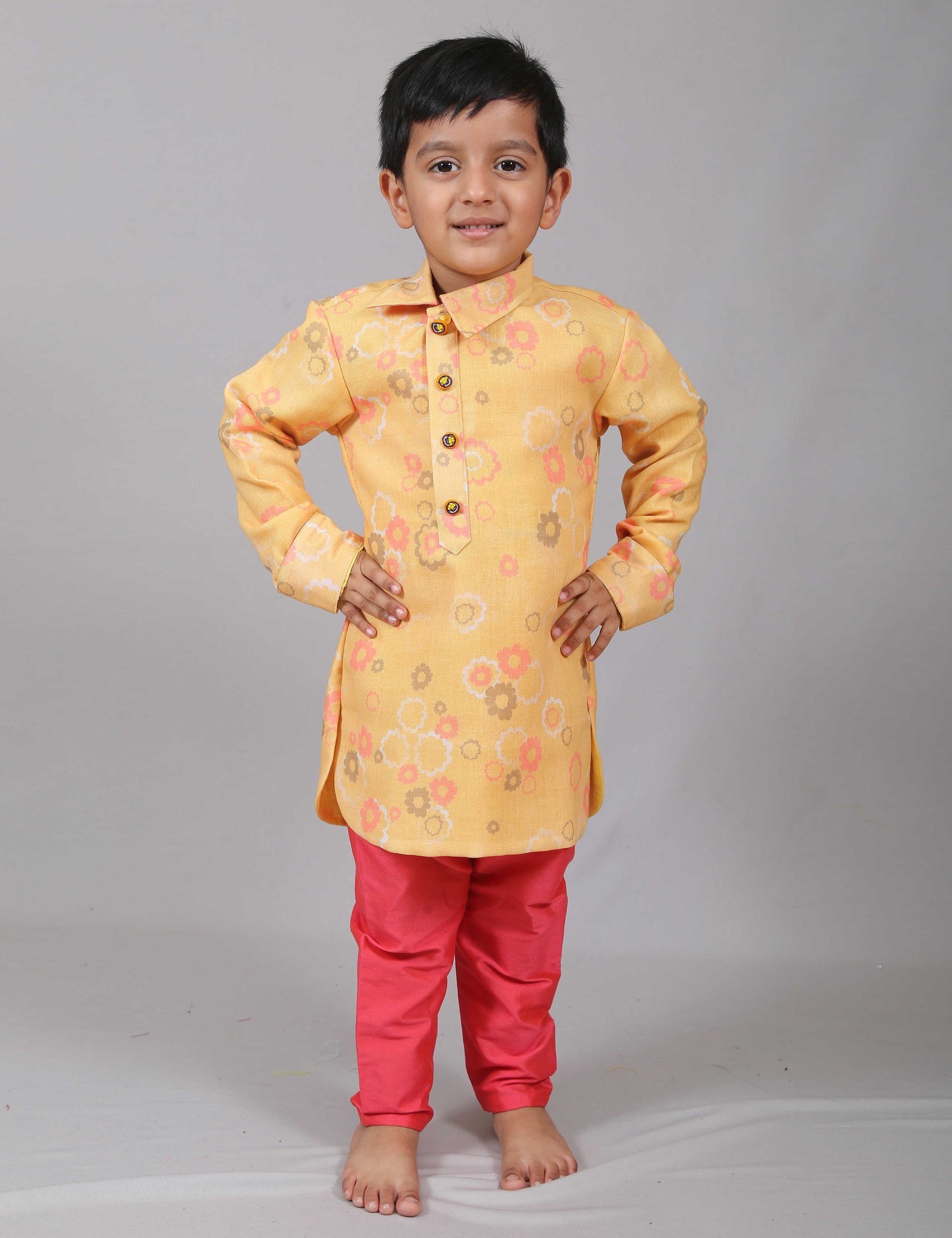 c9bcdd7b30 Mustard Floral Kurta with Salwar for Boys