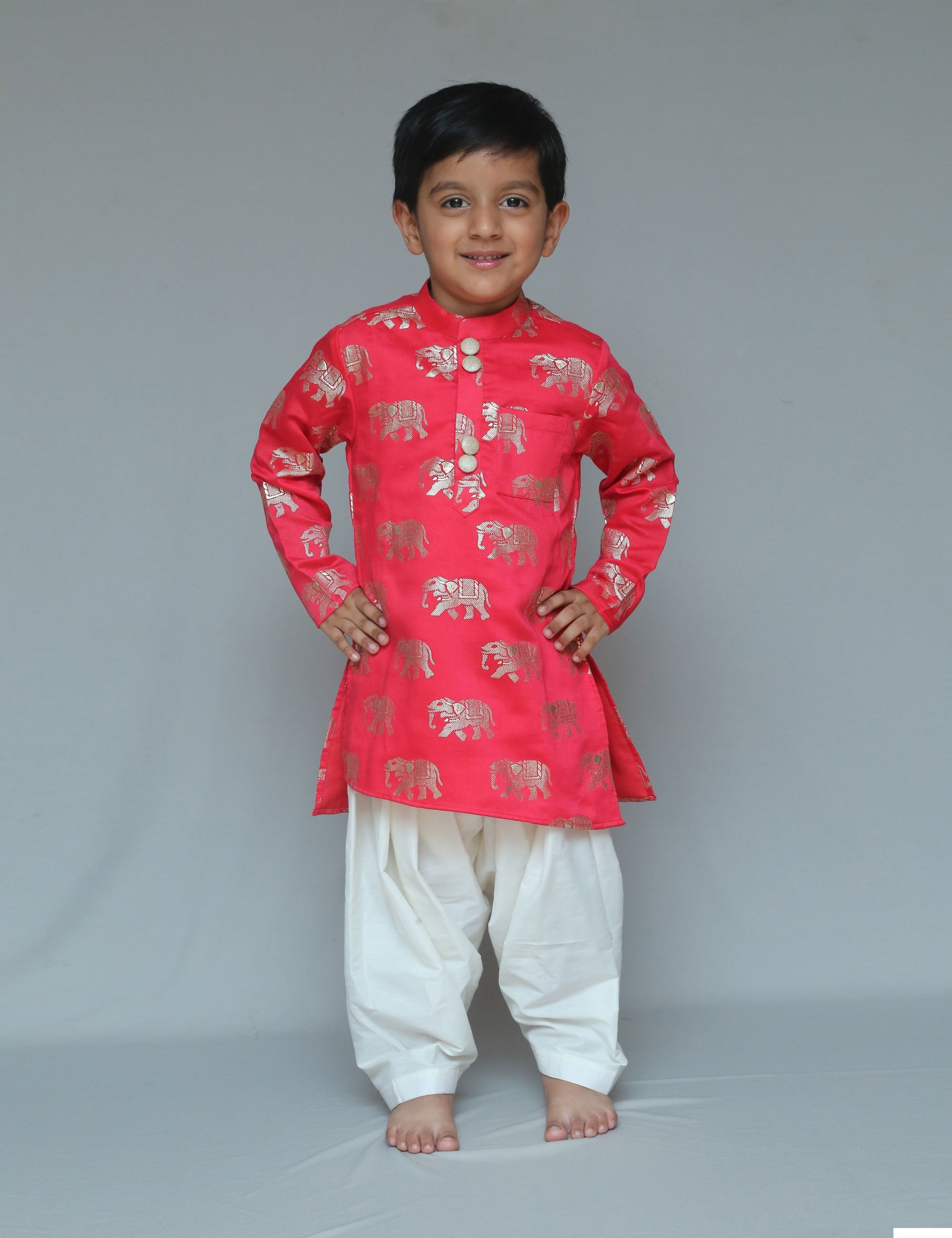 Elephant red kurta with wrap dhoti