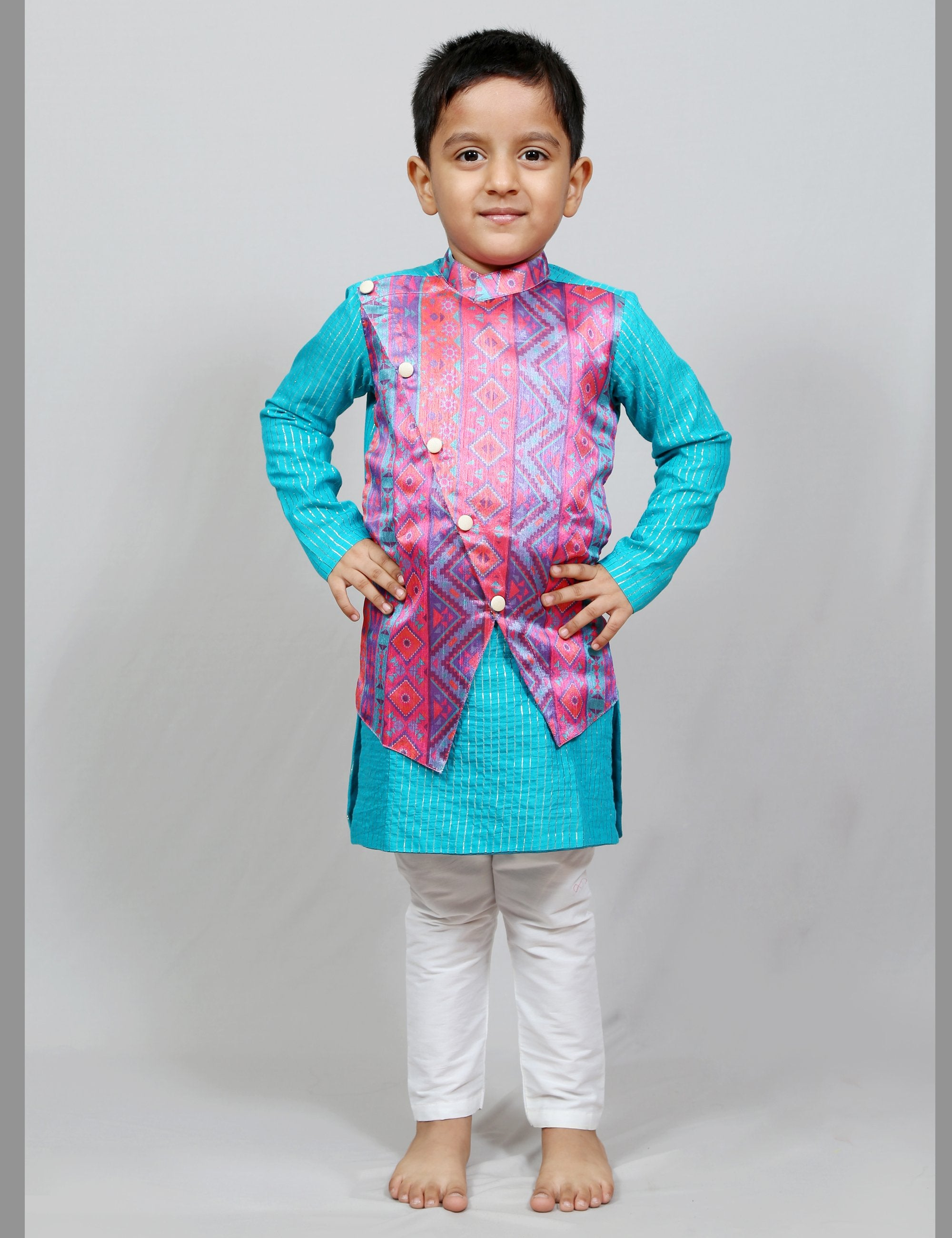 Dhoti and Kurta with attached Jacket