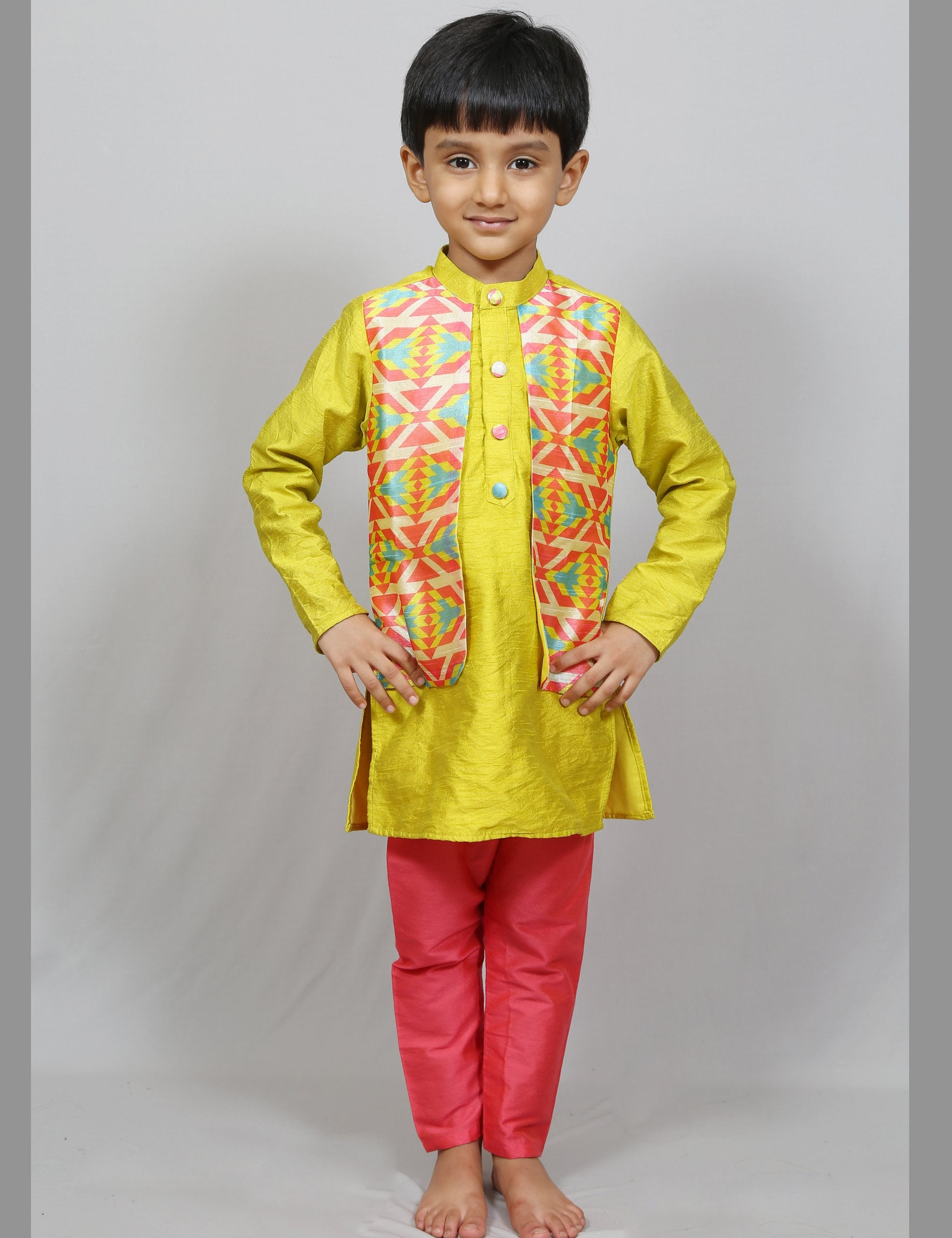 Kurta Pajama with Printed Jacket