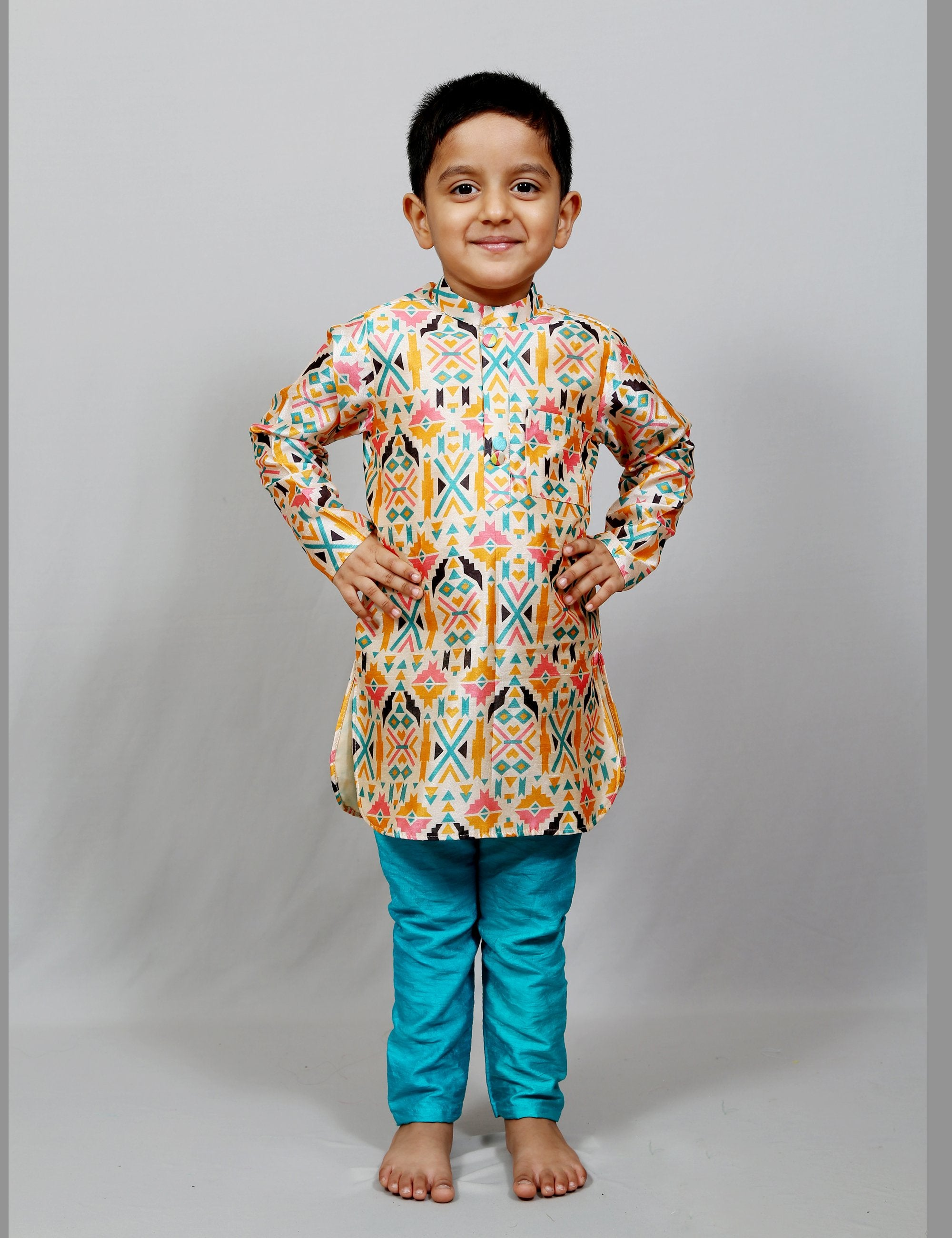 Kurta Pajama with Crossed Printed Jacket