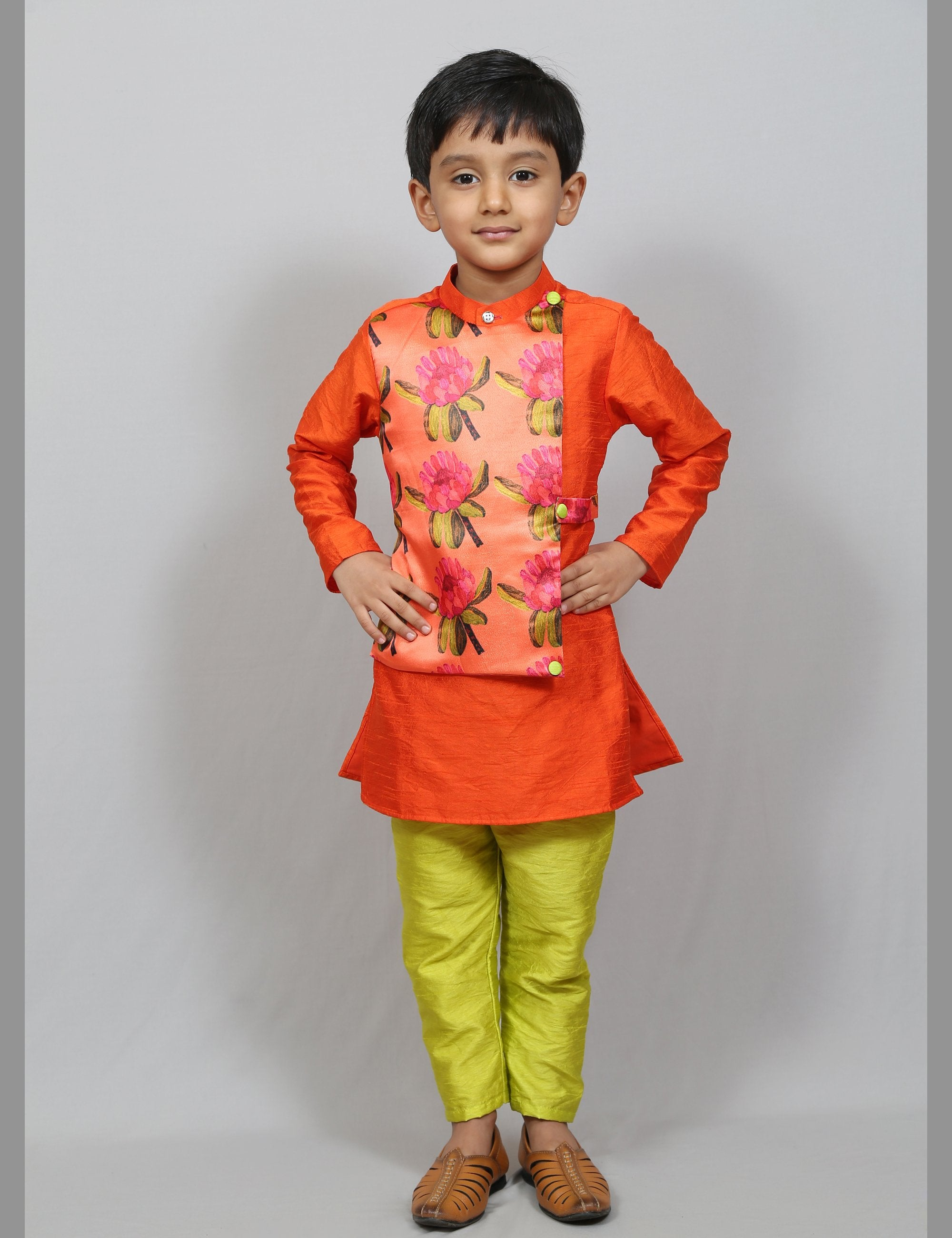 kurta with attached jacket and pant