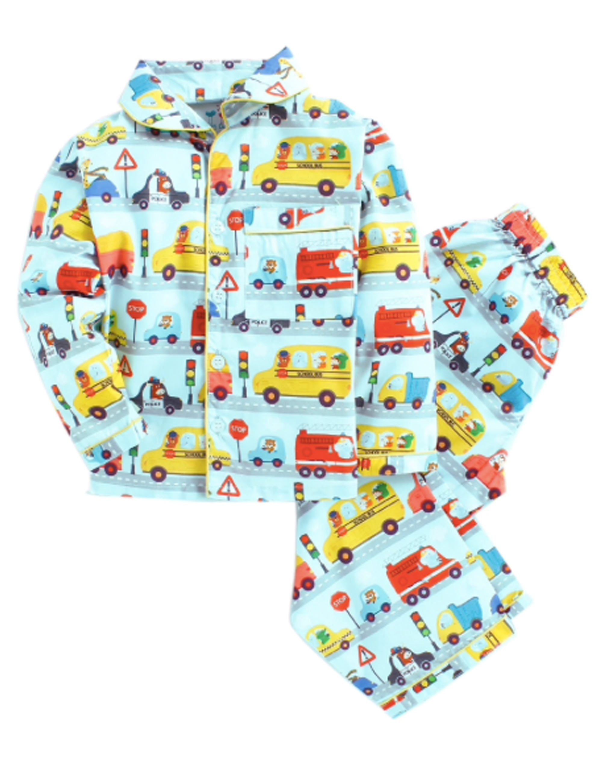 Vehicles Print Night Suit for Boys and Girls