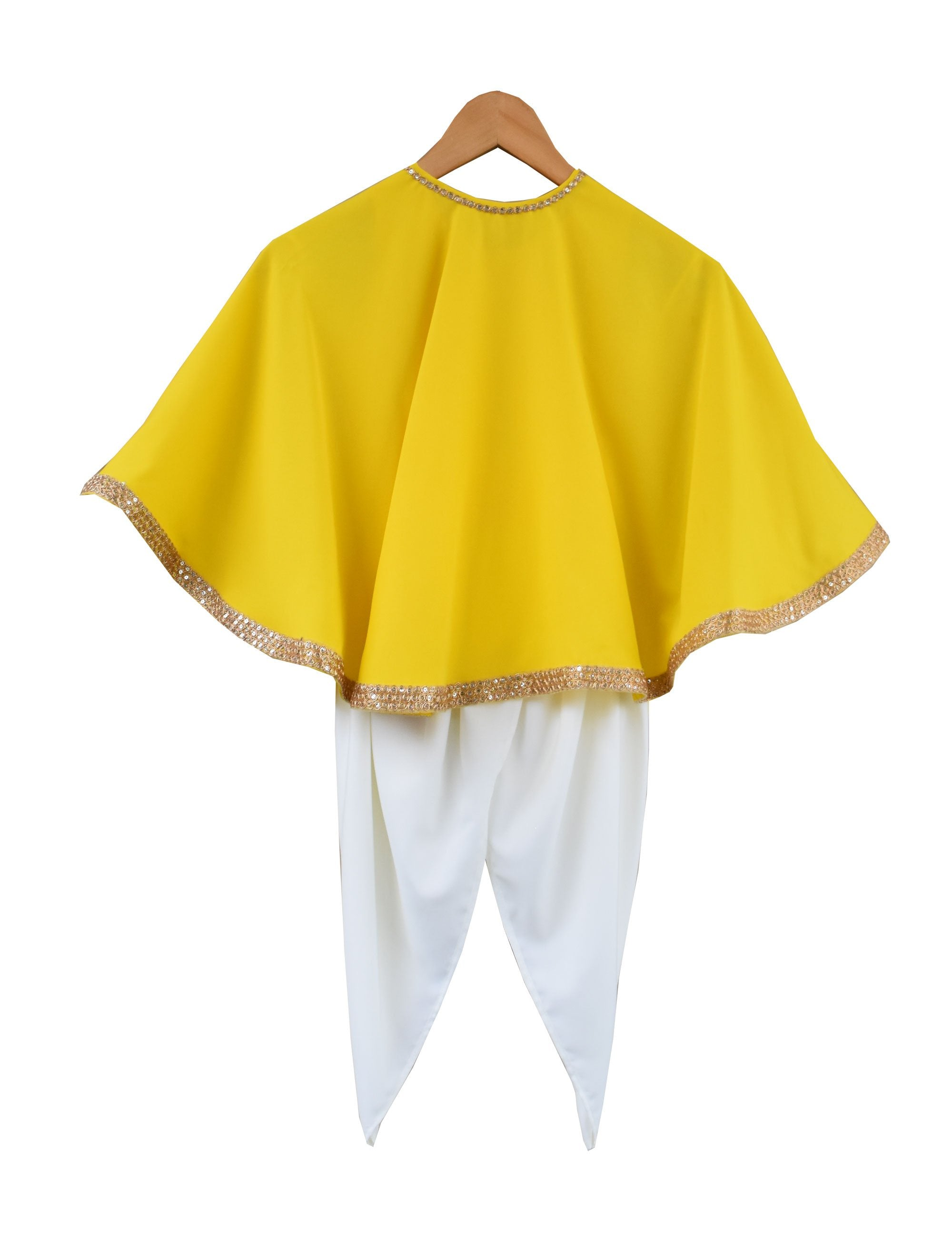 Crape Dhoti with Ponchu in Yellow Colour