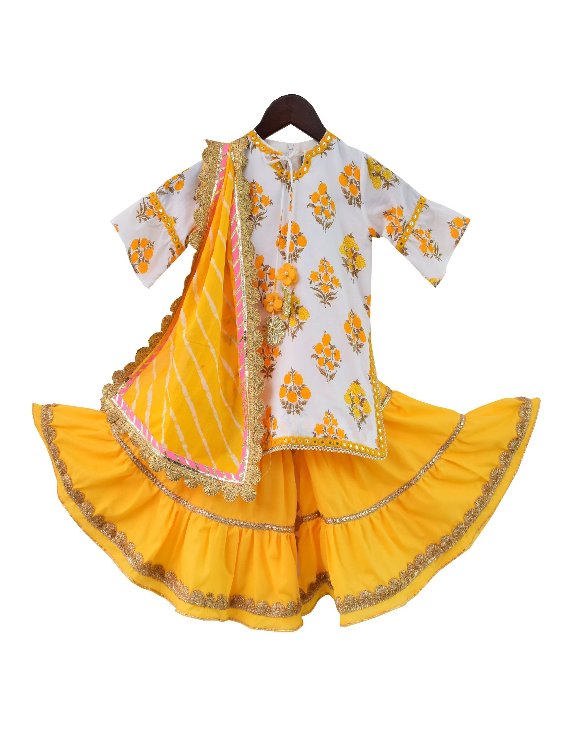 Printed Kurti with Sharara in Yellow Colour