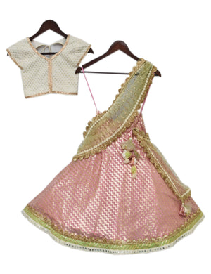 White Choli with Light Pink Lehenga for girls