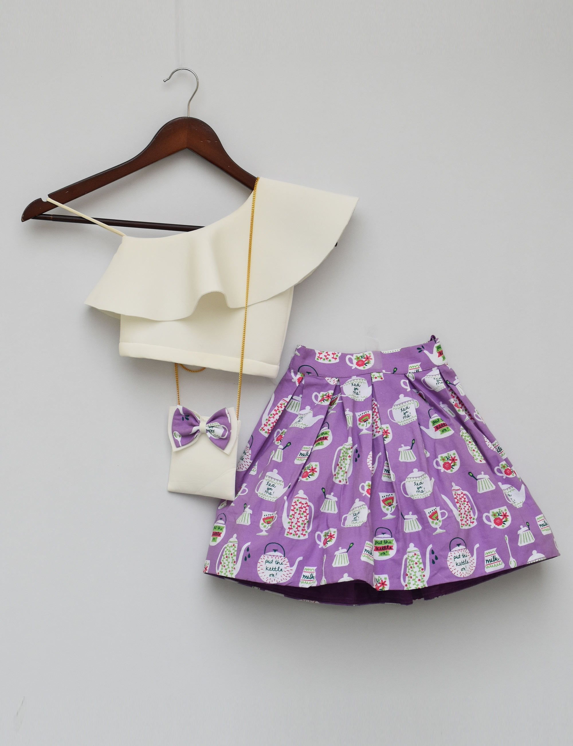b732a8f8114 Buy White Lycra Crop Top with Printed Skirt for girls at best Price ...
