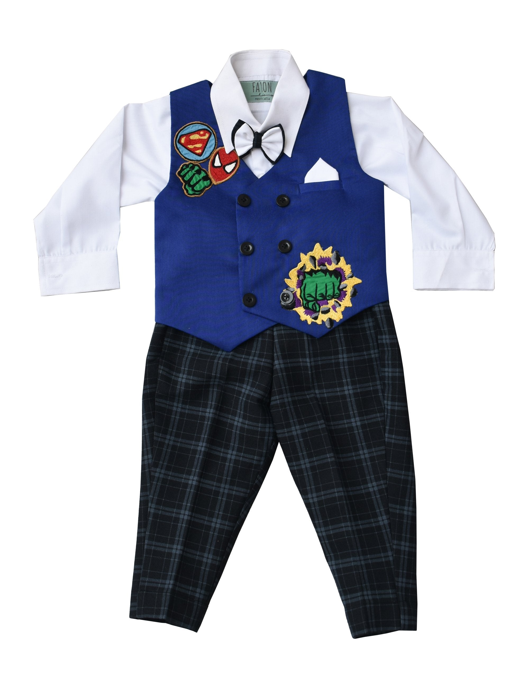 White Shirt with Black Check Pant & Hulk Print Waist Coat