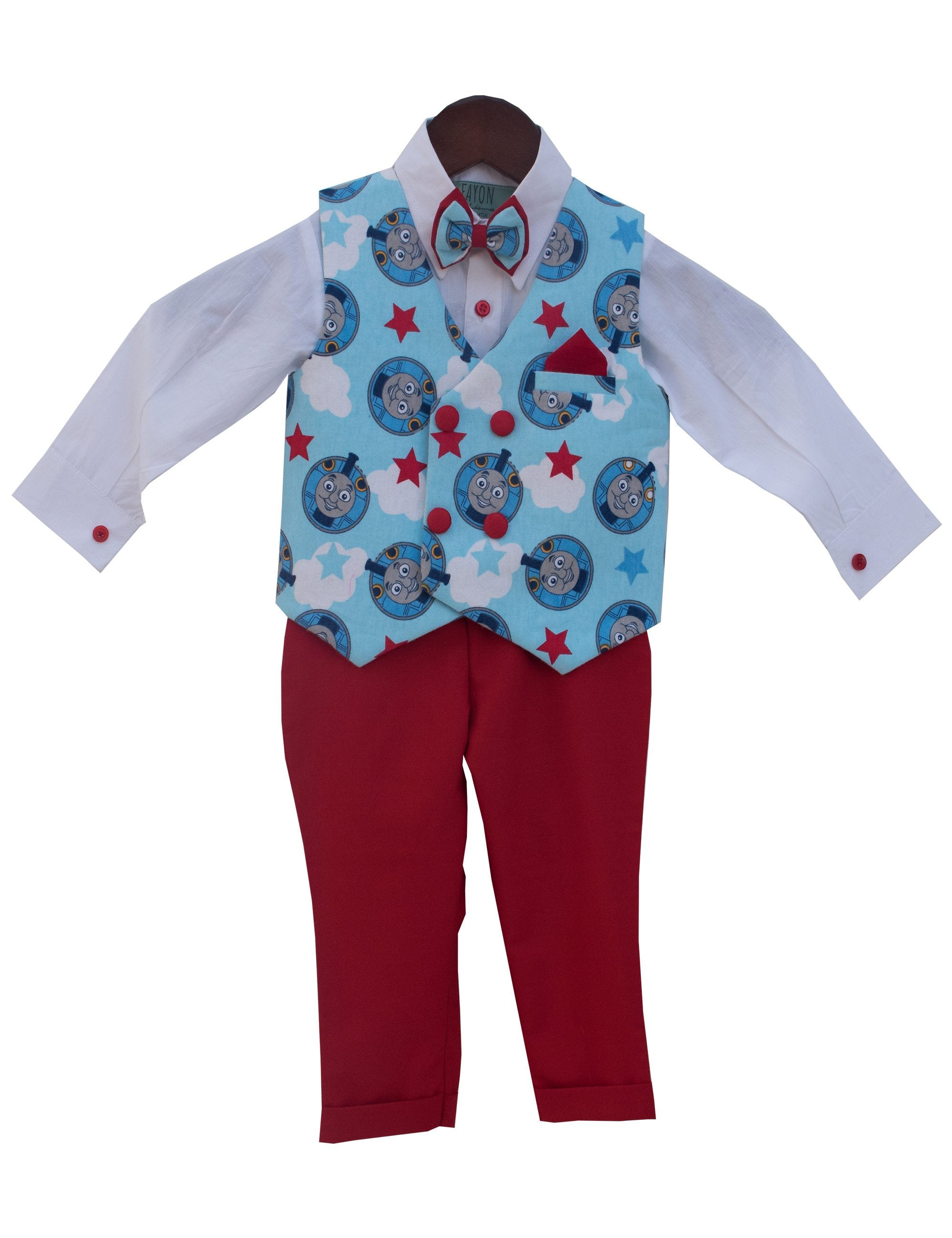 White Shirt with Blue Printed Waist Coat and Red Pant Set for Boys