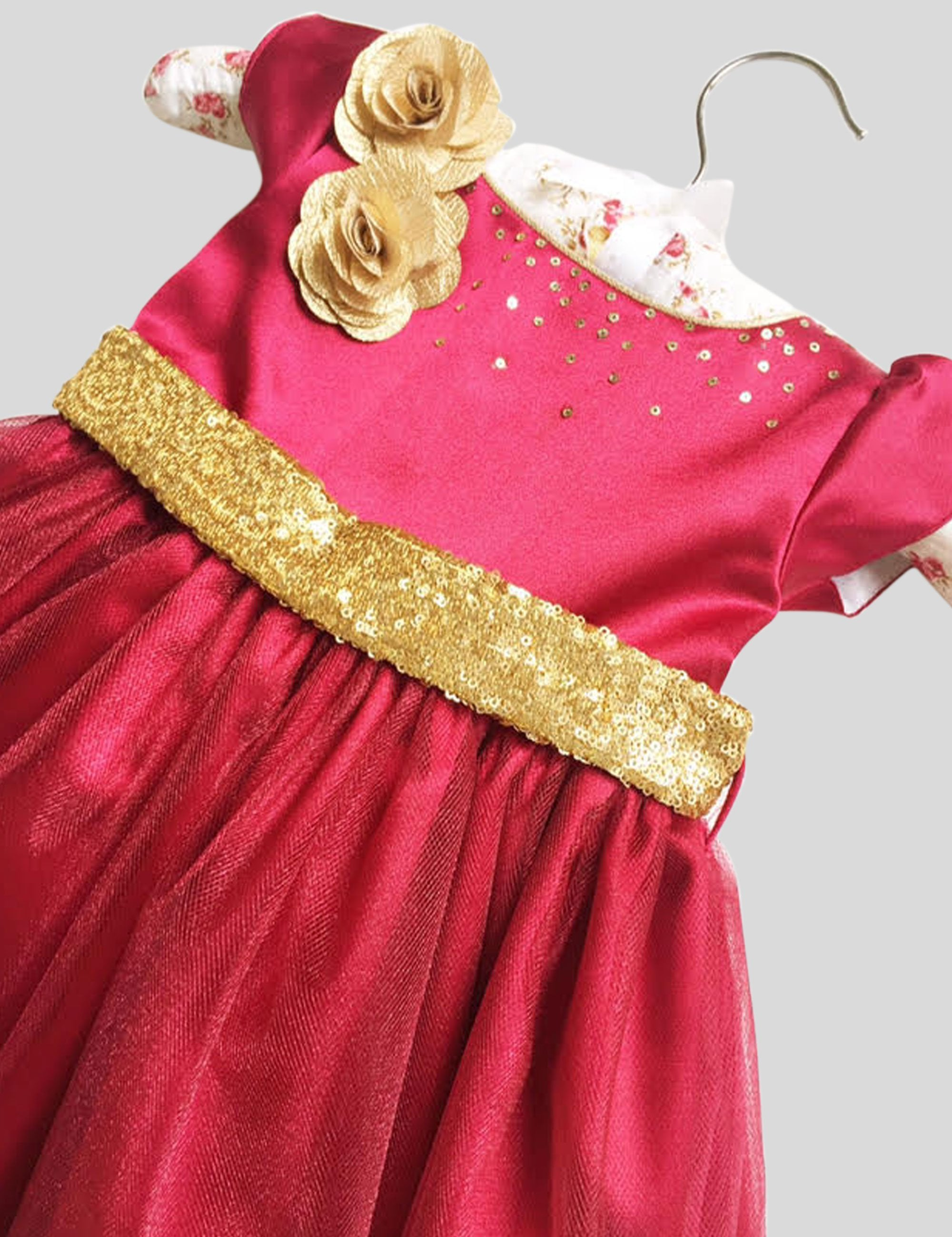 Wine and Gold Gown in Maroon and Gold Colour for Girls