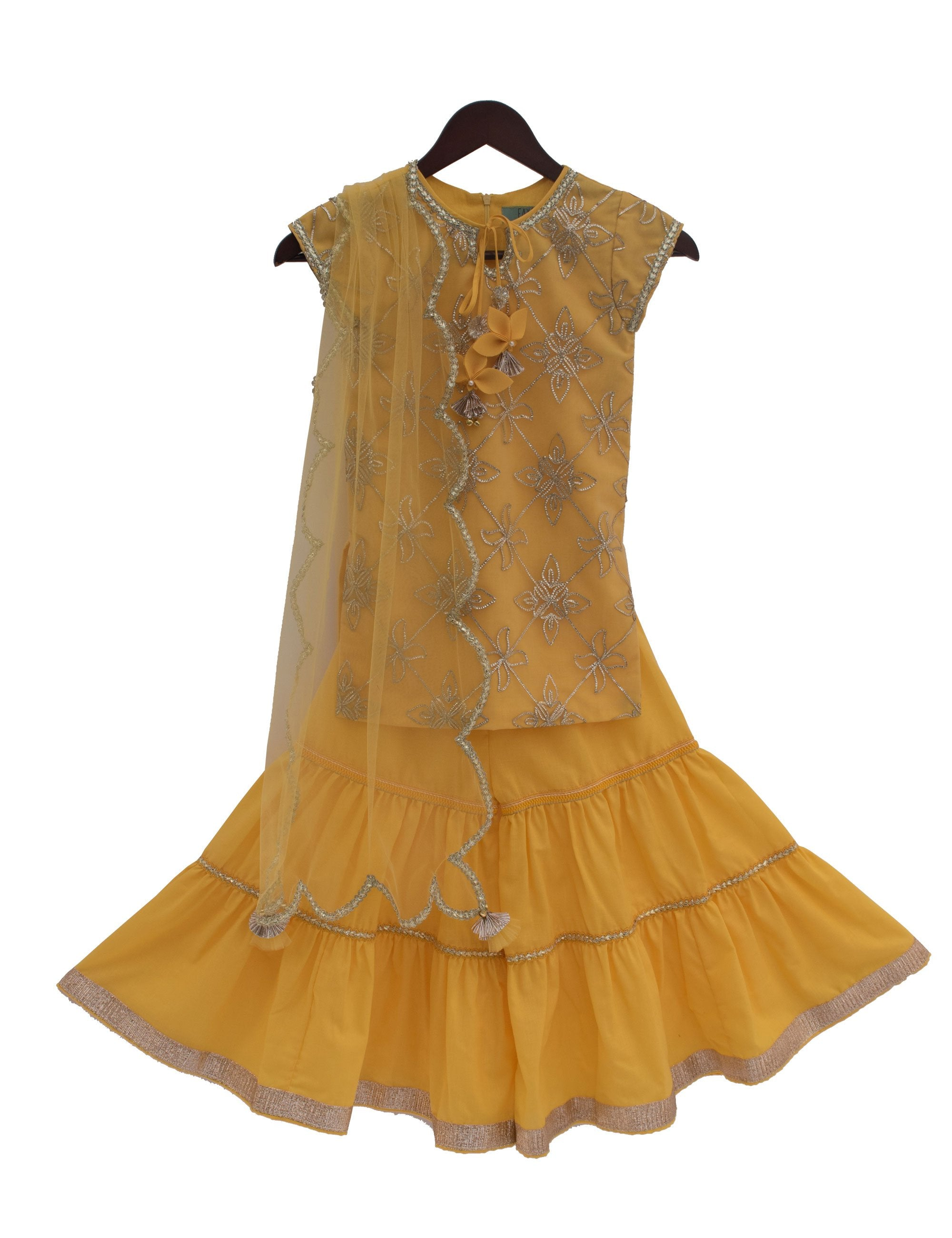 Gota Embroidery Kurti with Sharara in Yellow Colour for Girls