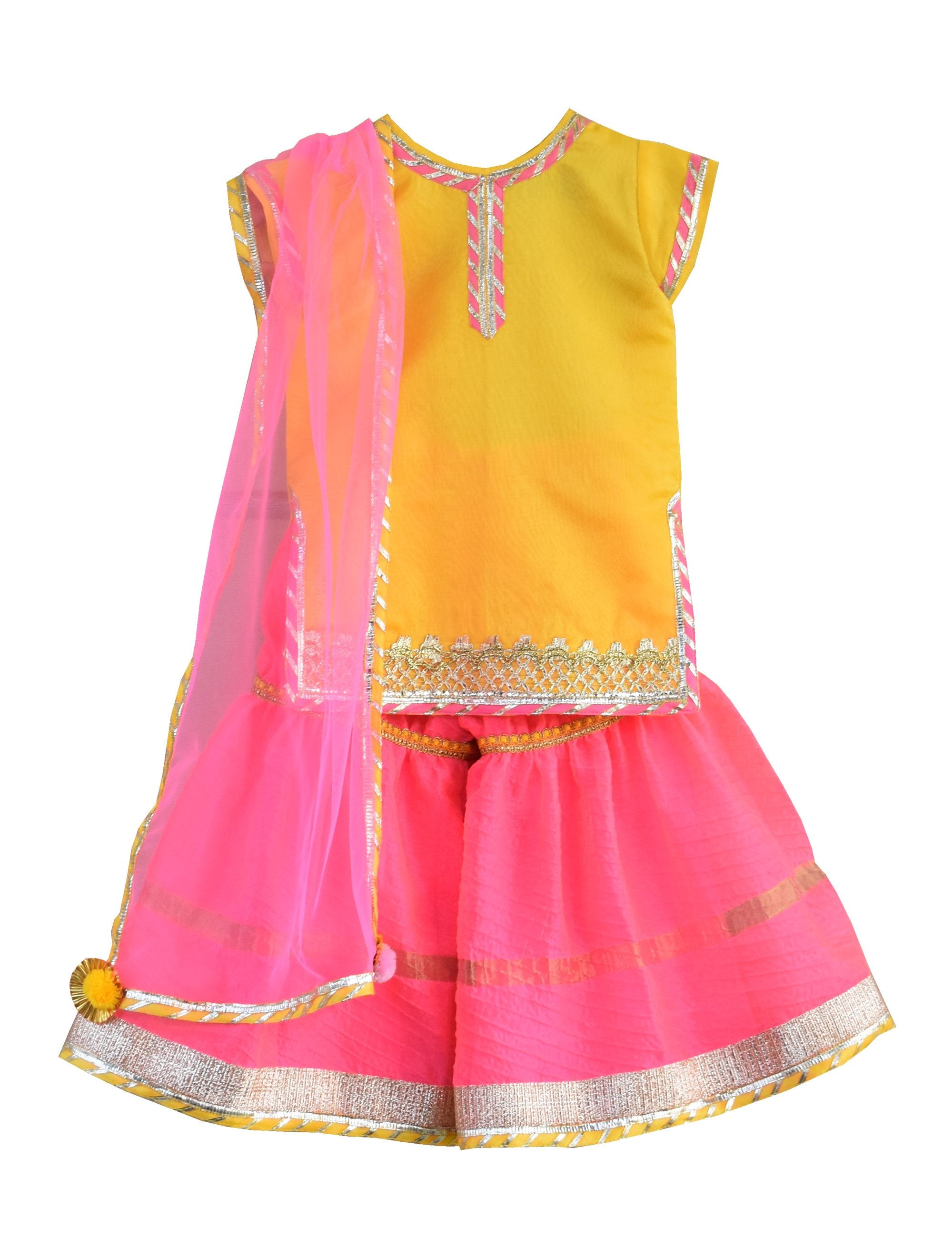 Kurti with Sharara in Yellow and Pink Colour for Girls