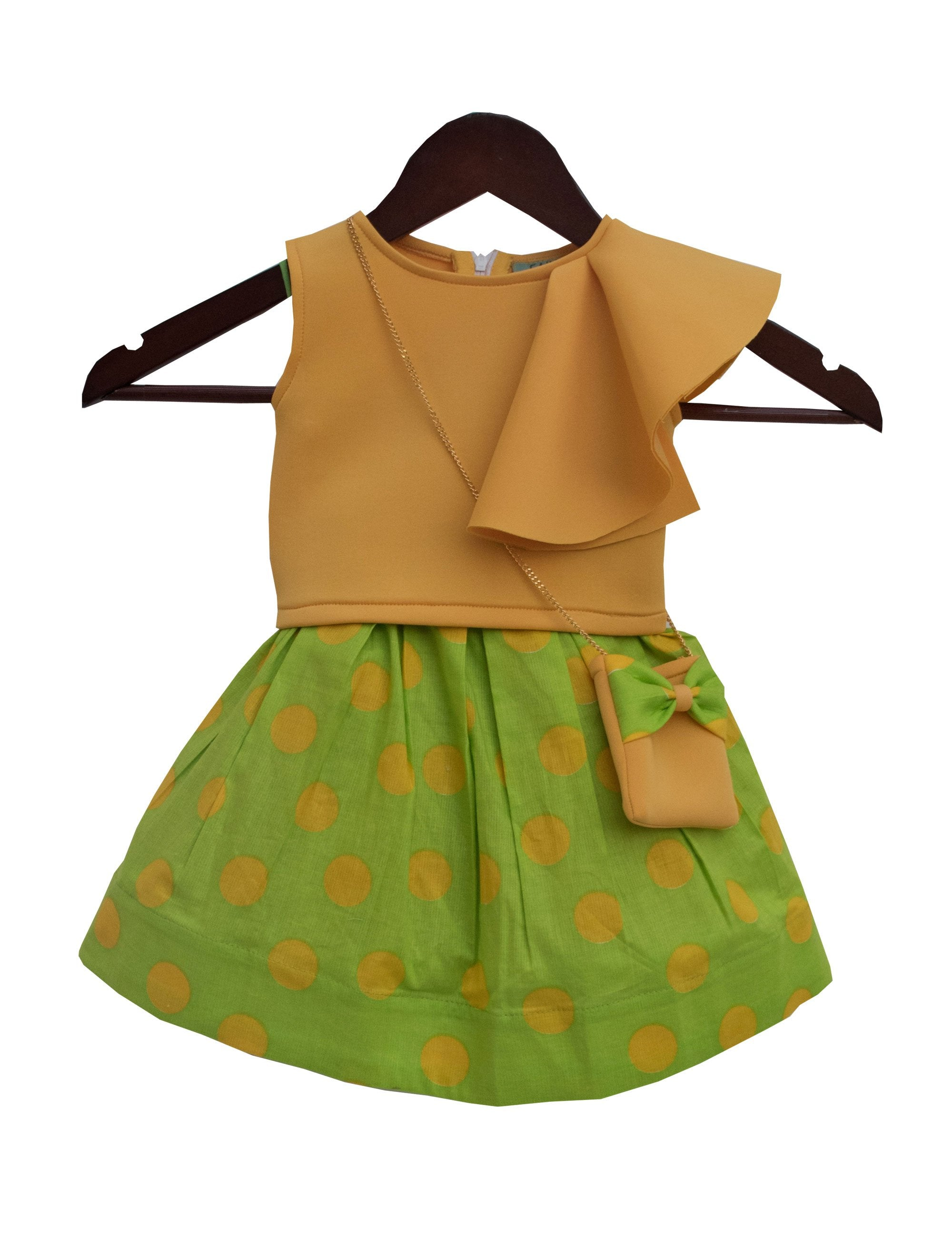 Crop Top with Printed Skirt in Yellow and Green Colour for Girls