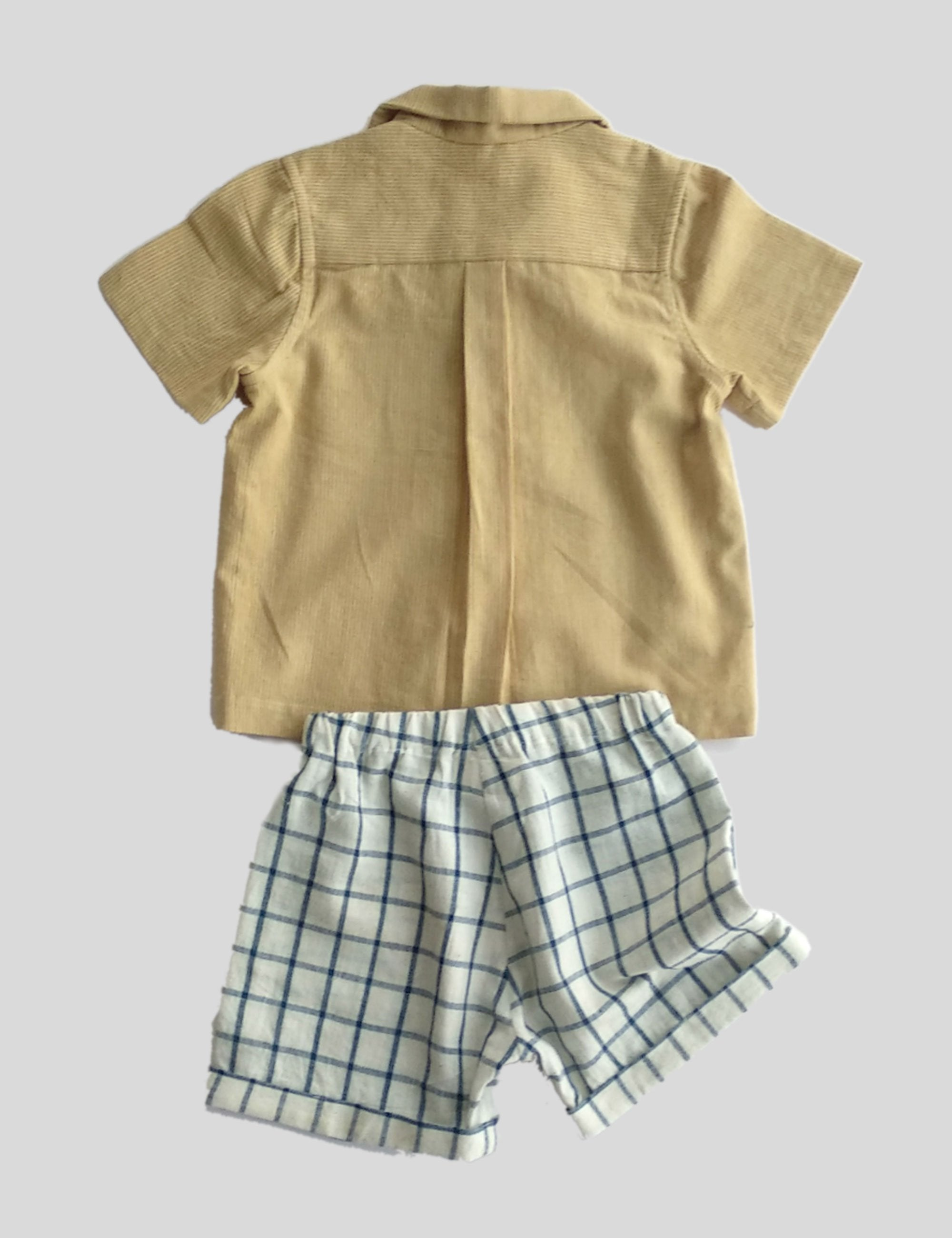 Convertible Collar Shirt Set with Half Sleeves in Ochre with Brown Checks Shorts for Boys