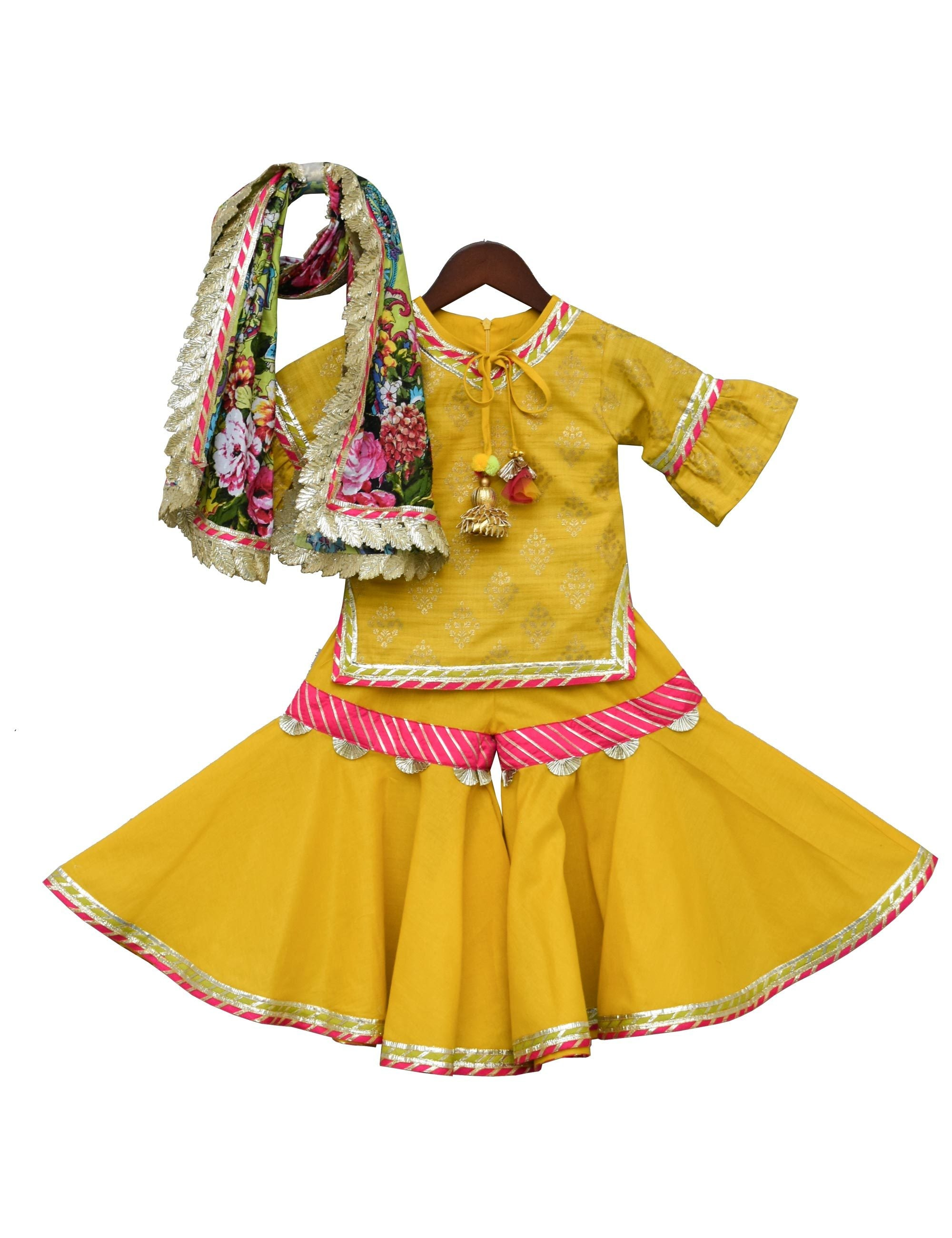 Yellow Foil Print Kurti with Sharara