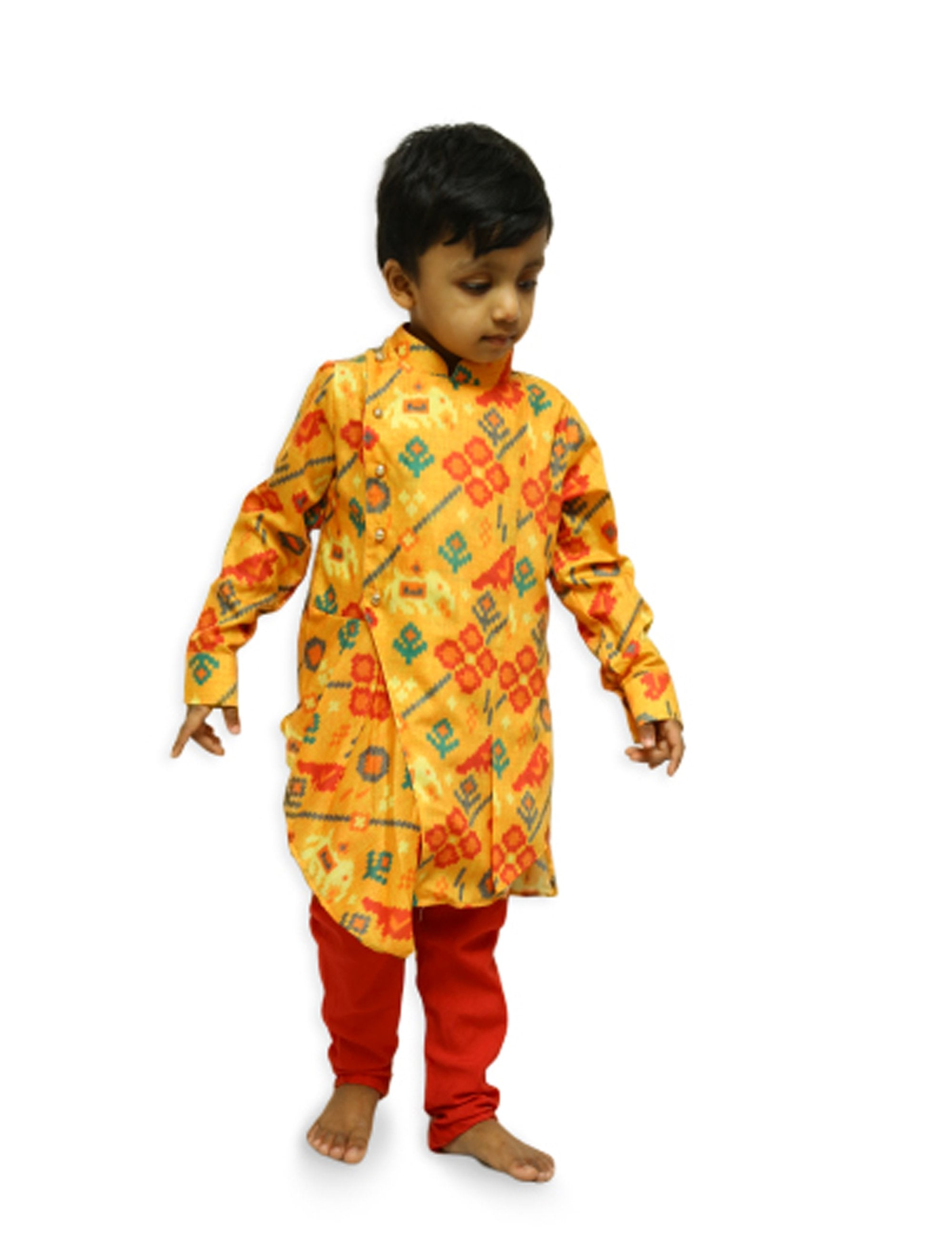 Yellow Red Patola Kurta Set
