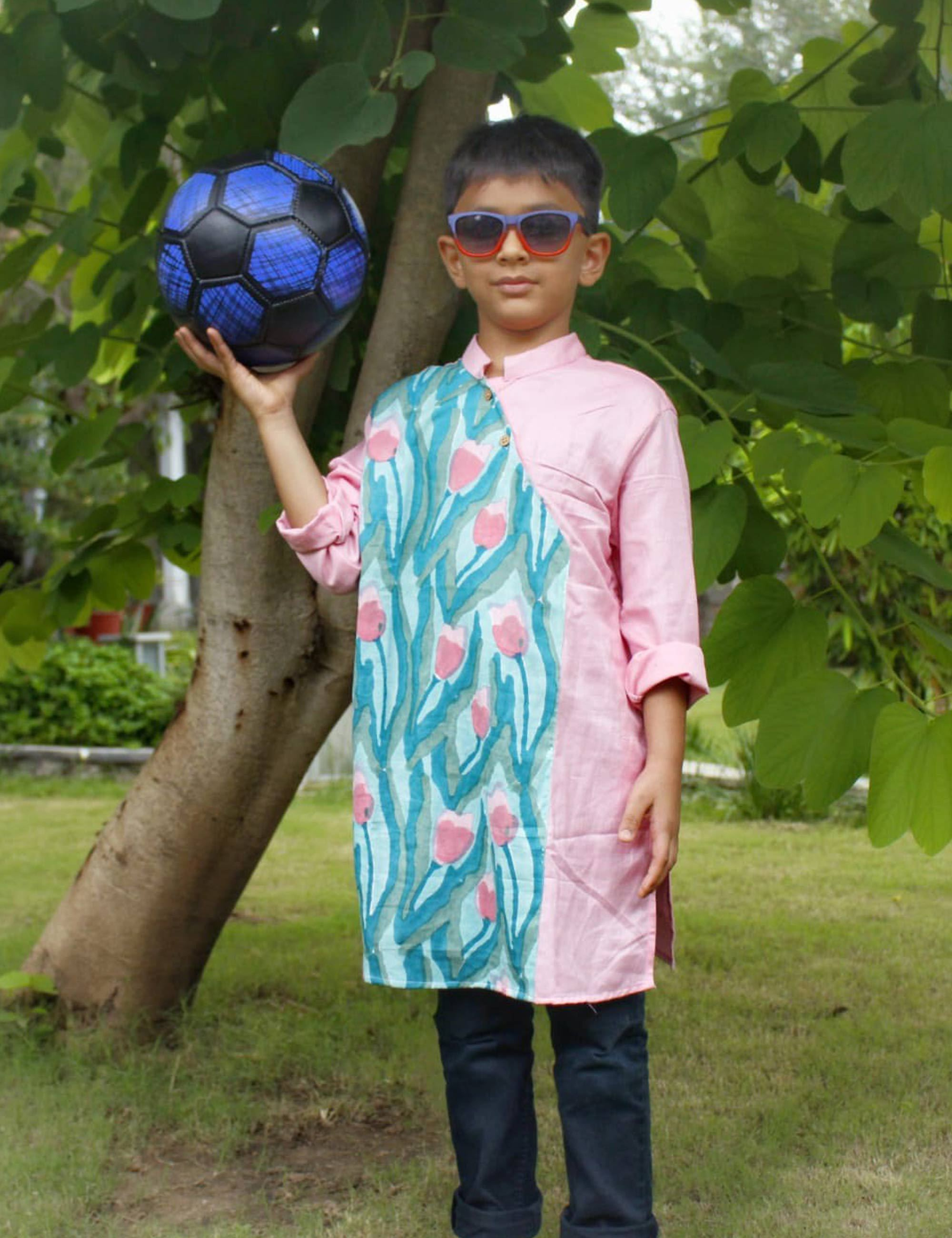 Boys Kurta In Olive Green and Pink