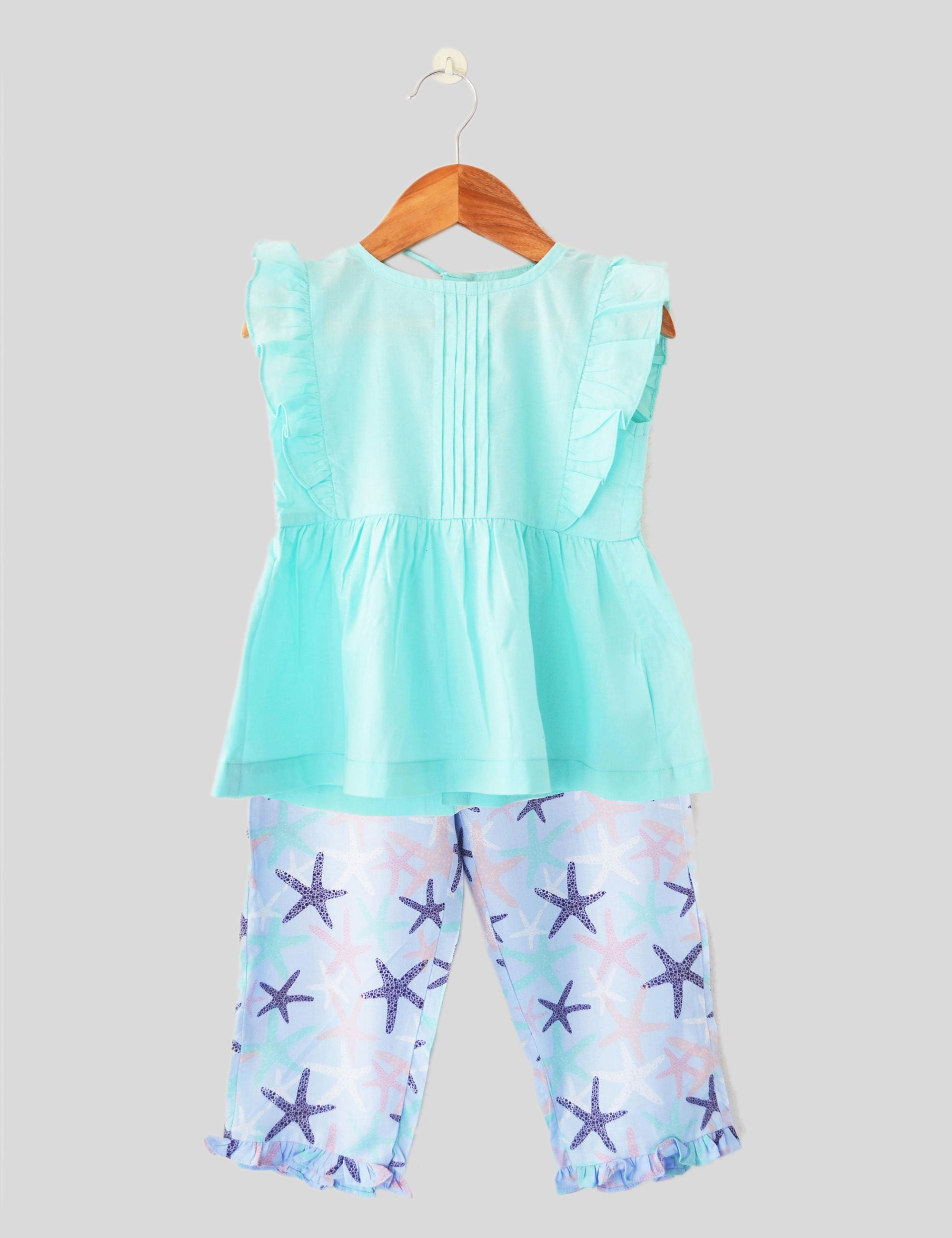 Coral Island Pajama Set in Blue and Green Colour for Girls