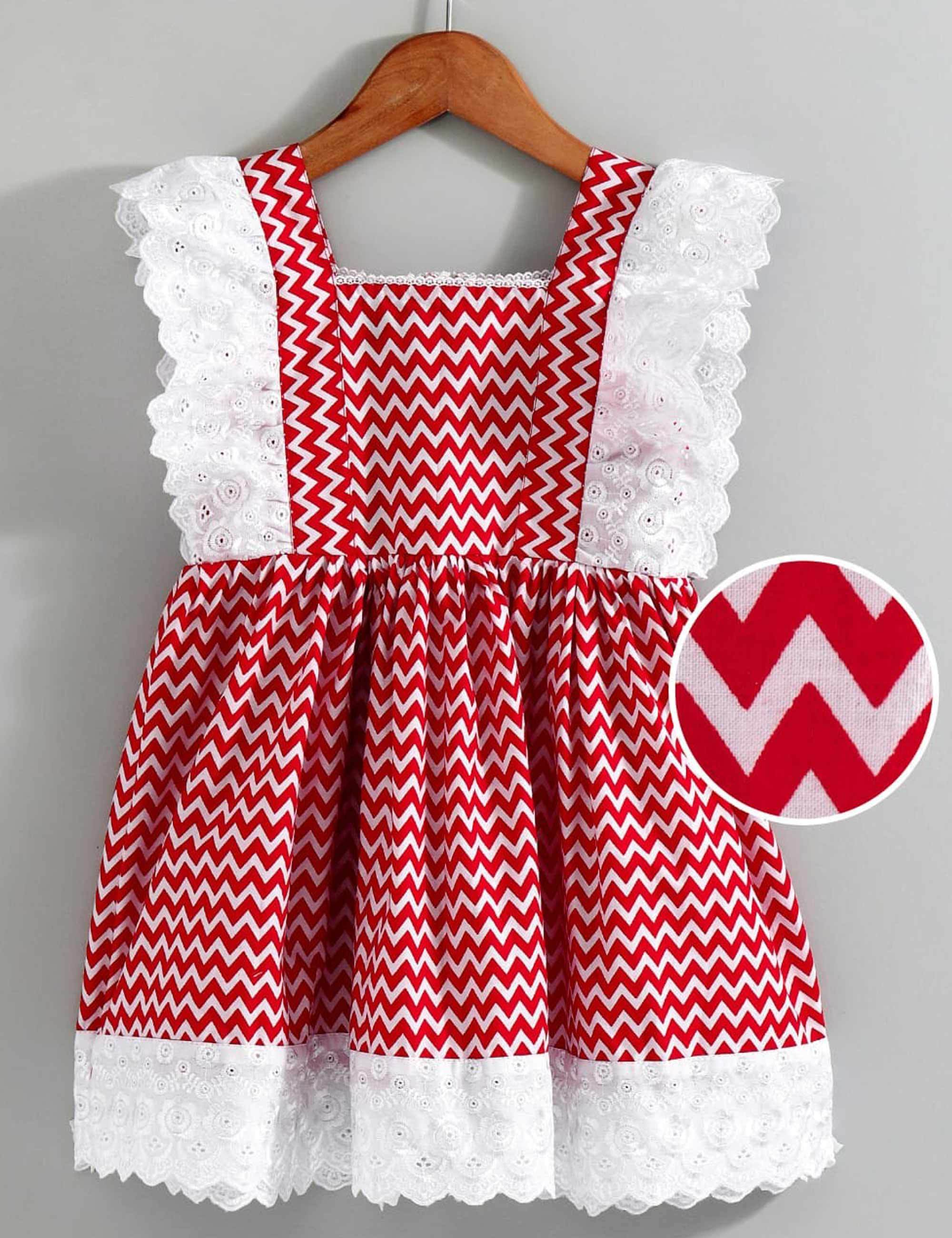 Red Chevron Dress with Lace Detail on Yoke