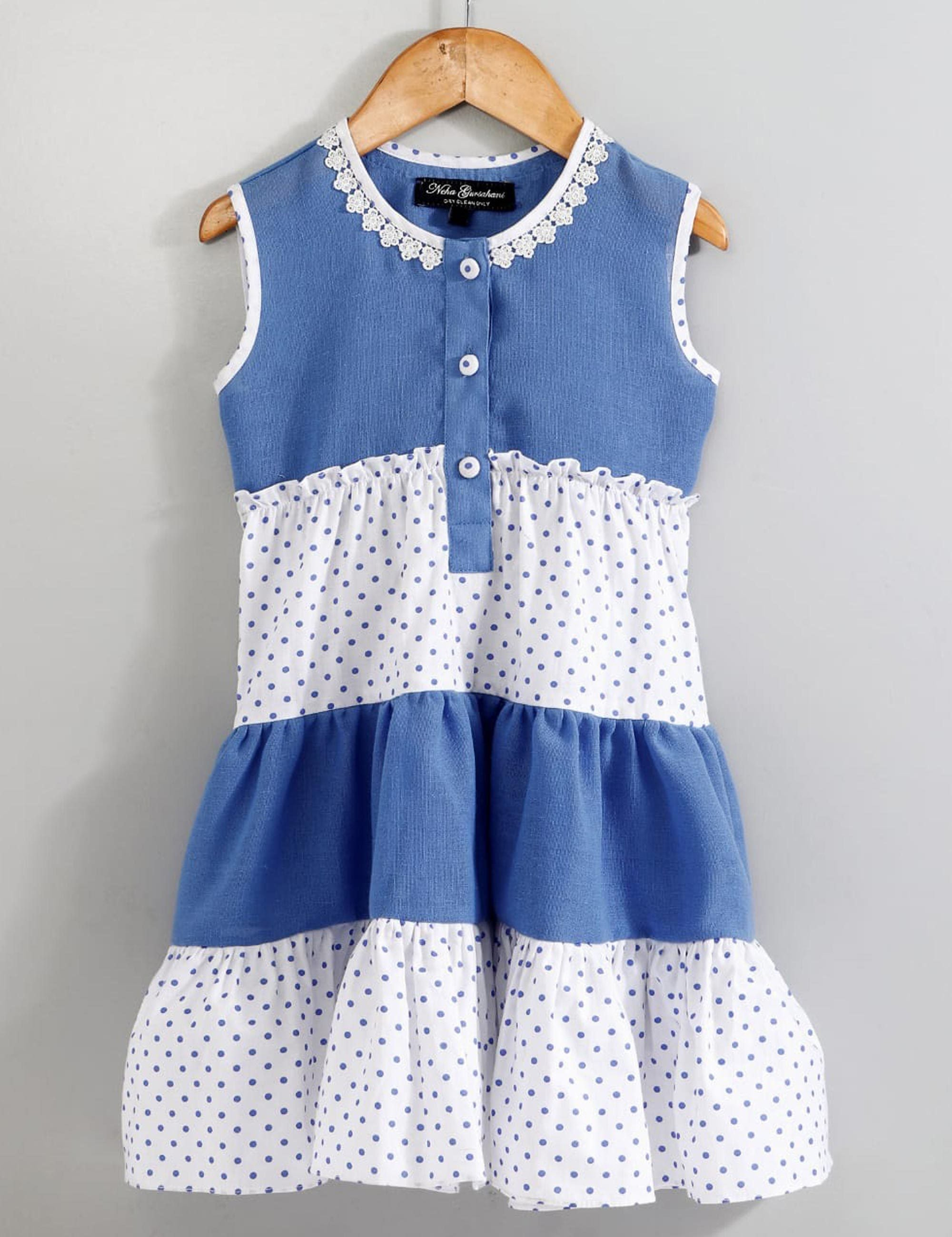Blue Polka dot tired dress