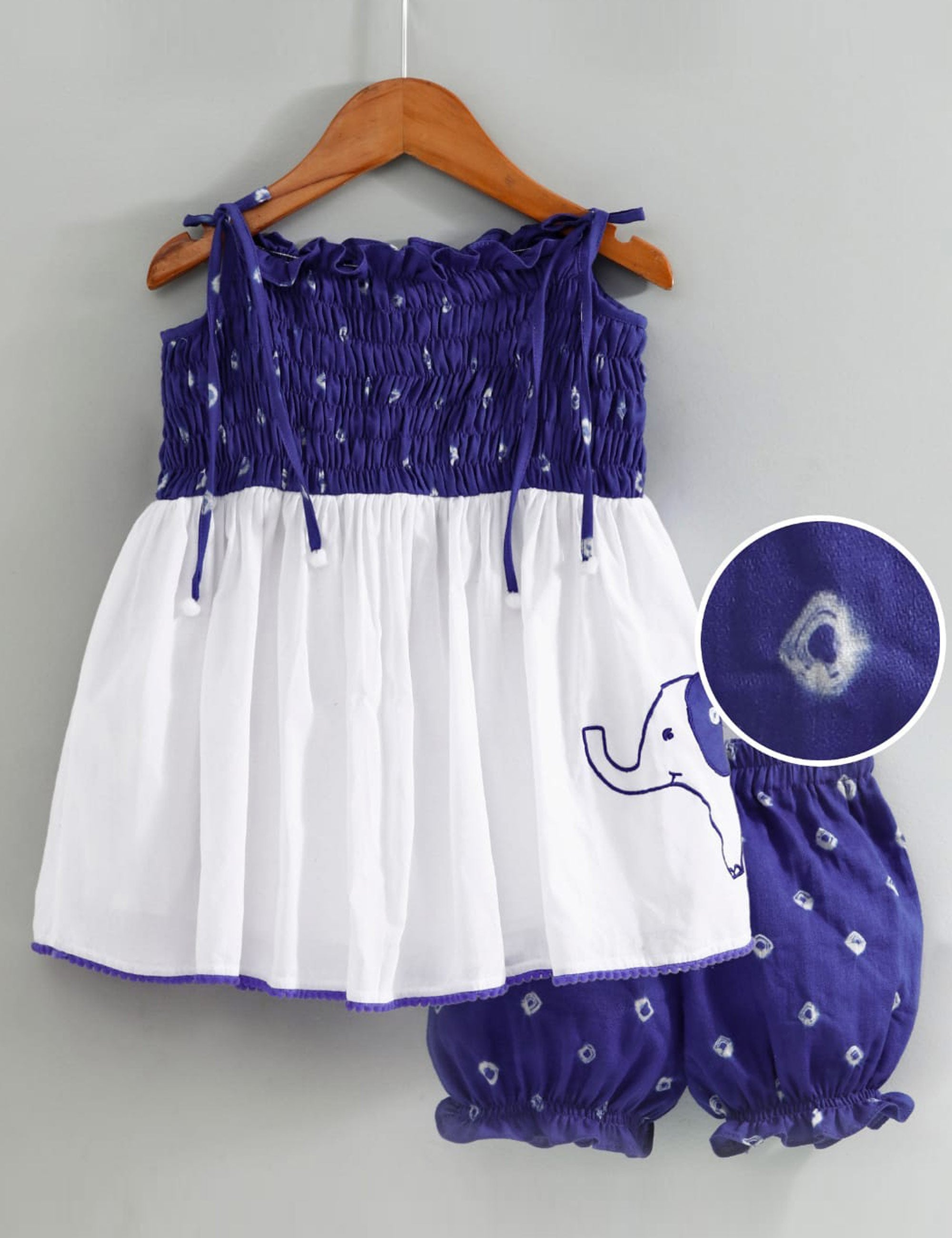 Bandhini Smocked Top with Matching Bloomers