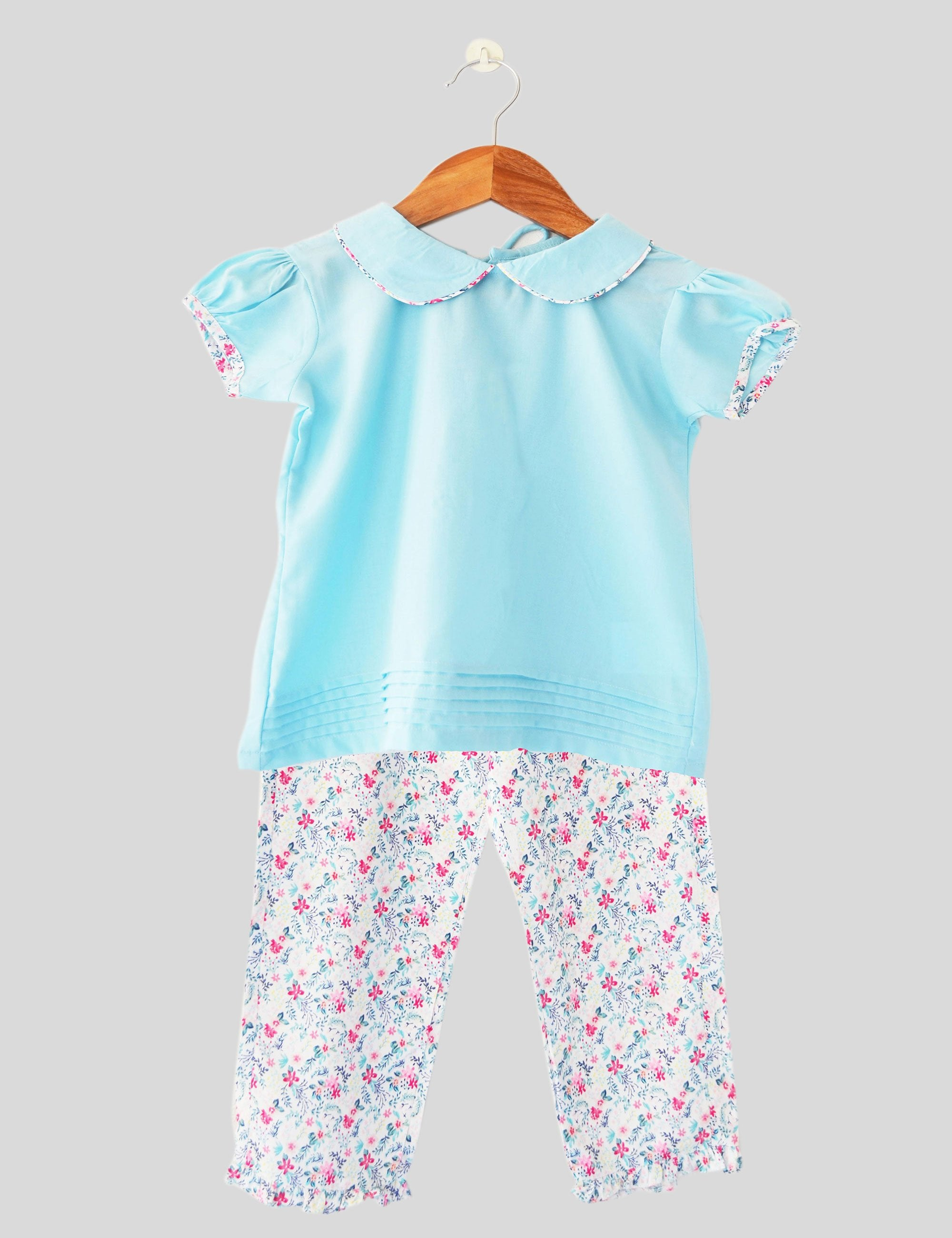 English Garden Pajama Set in Blue and Pink Colour for Girls