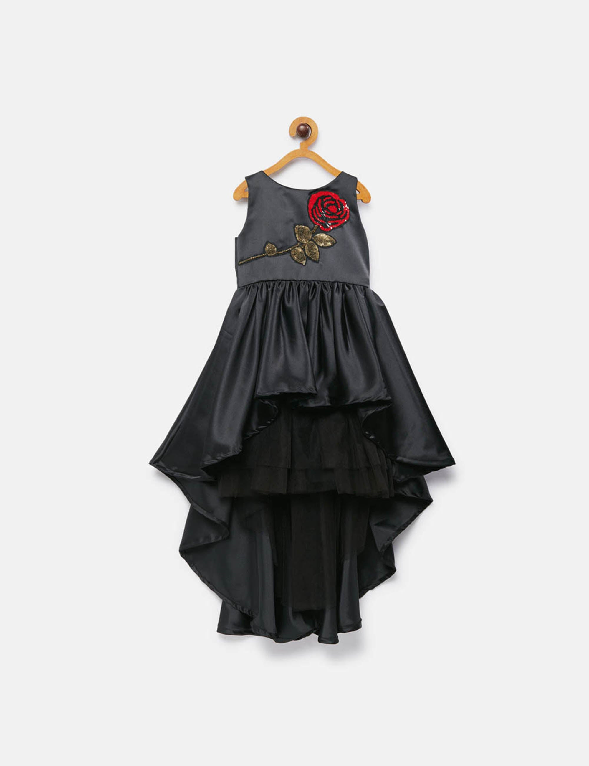 Black High Low Dress with Rose Embroidery