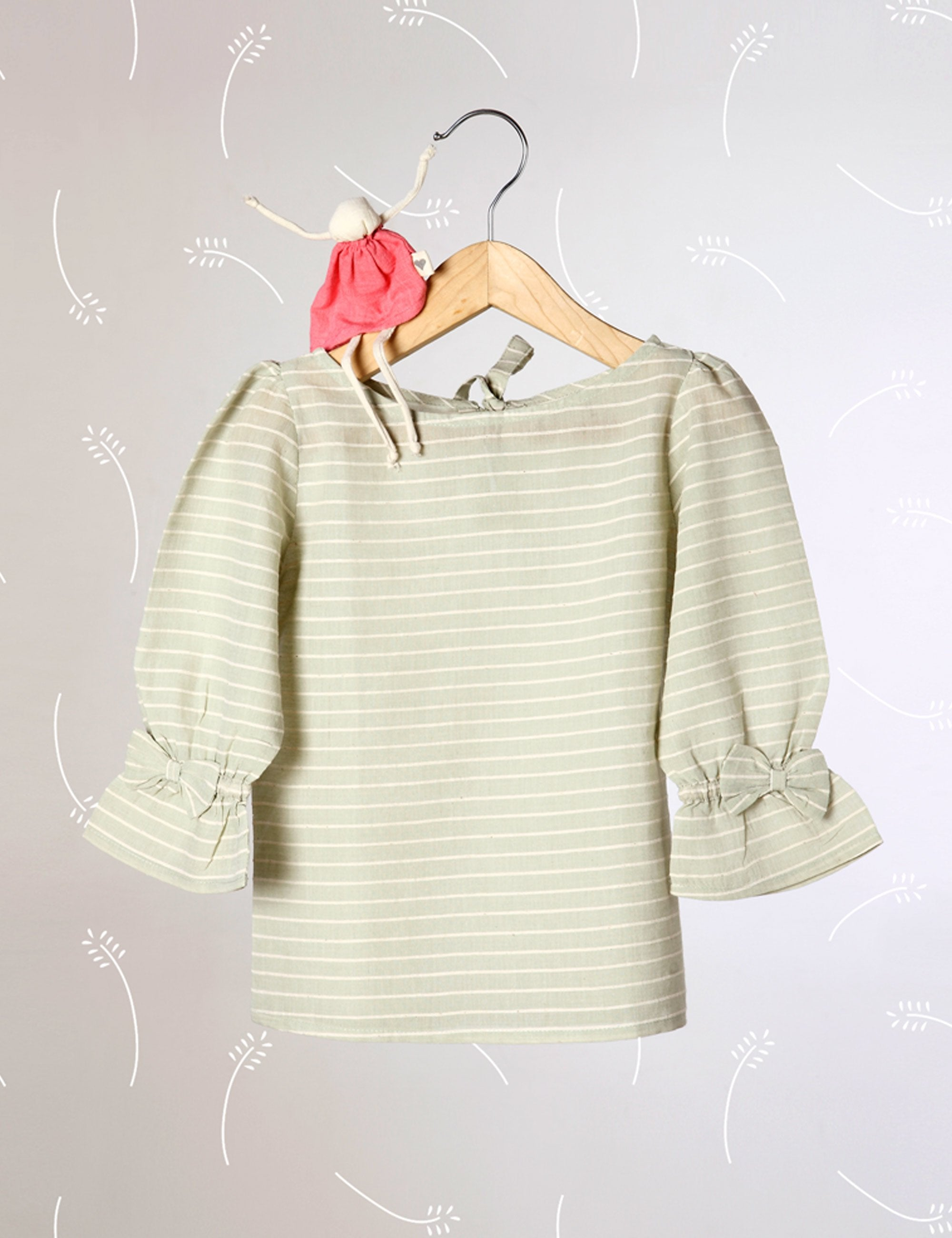 Charms Of Country Life - Sage Green Striped Top