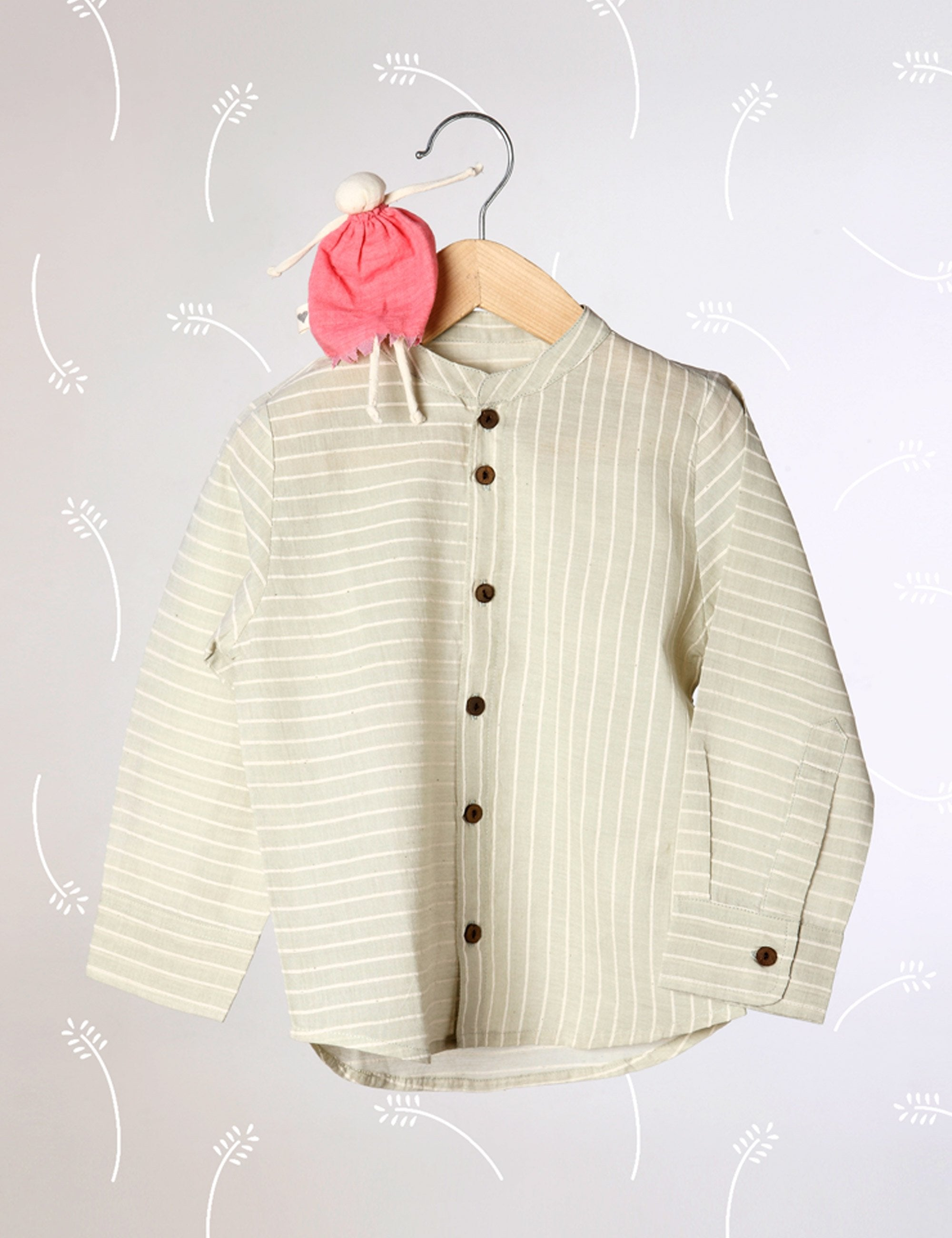 Barefoot Boy - Chinese Collar Shirt In Sage Green Stripes