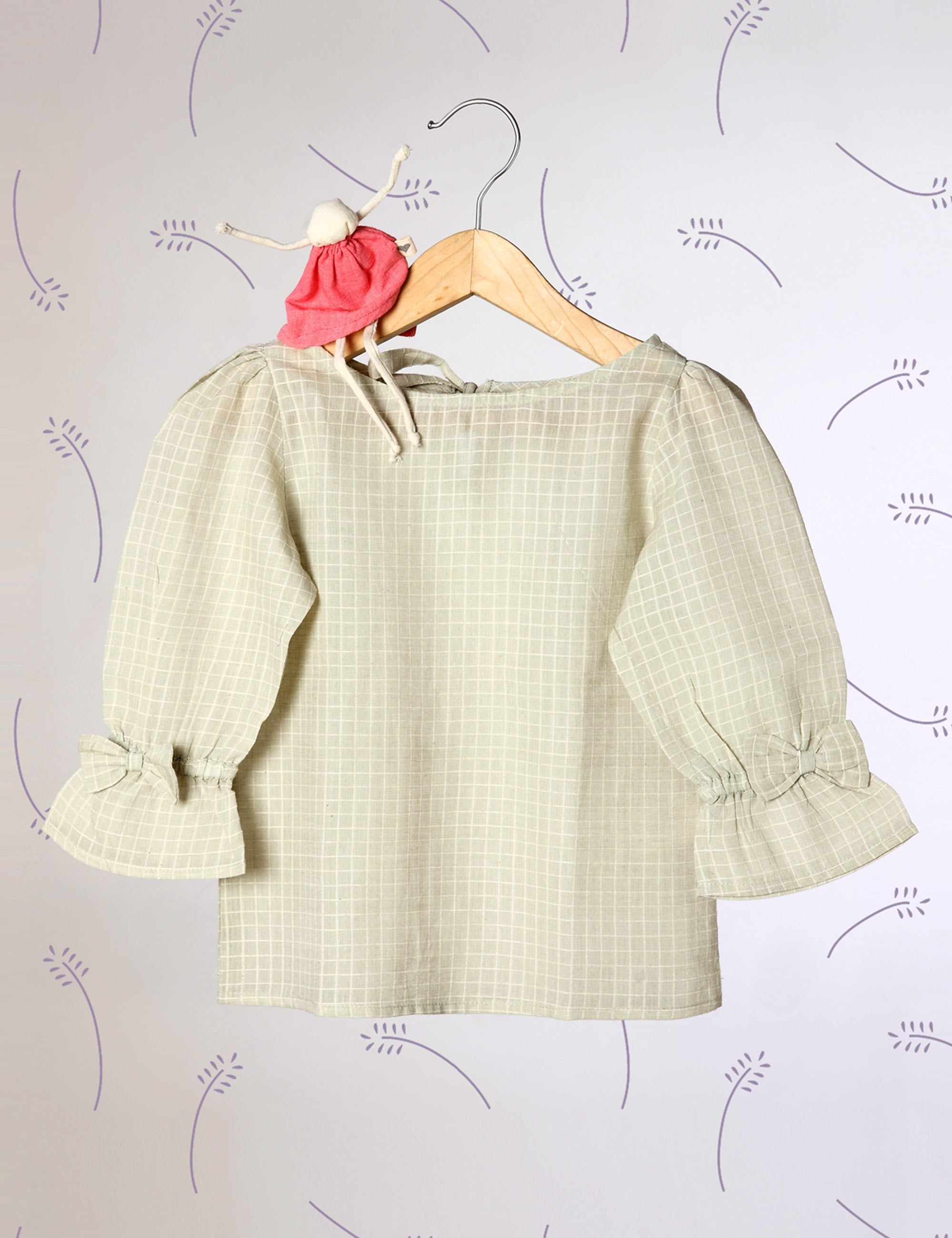 Charms Of Country Life - Sage Green Checkered Top