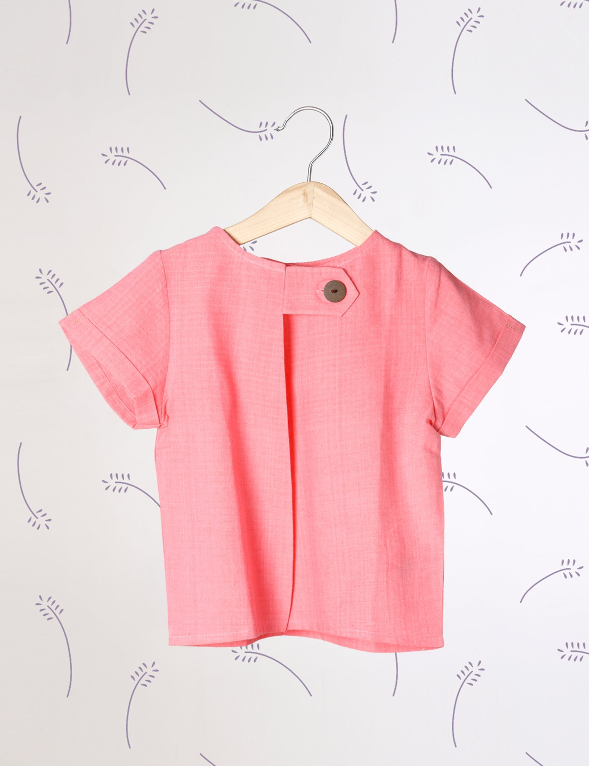 Lavender Skies -  Tee with Big Side Button In Pink