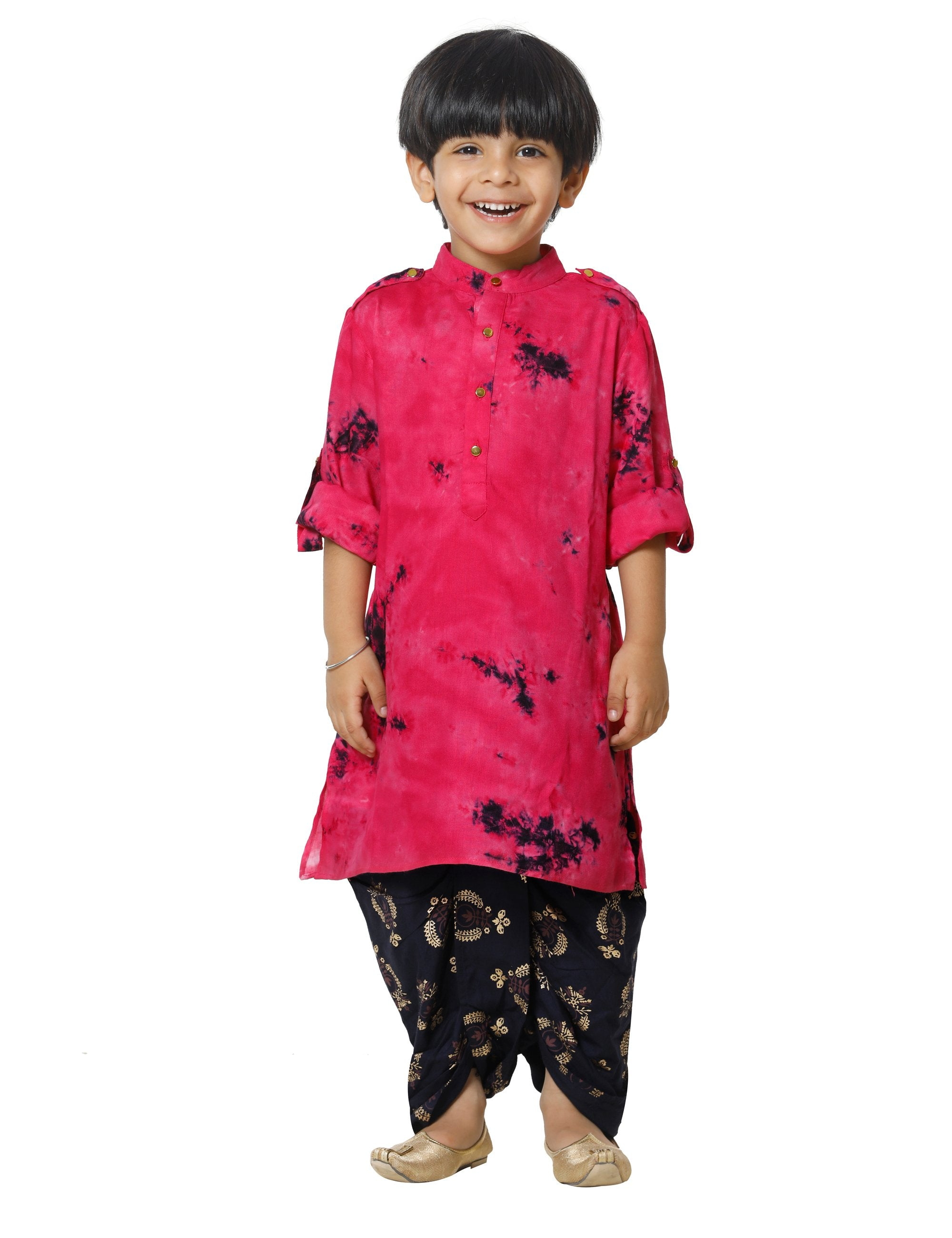 Tie and Dye Pink Kurta with Foil Print Dhoti Set