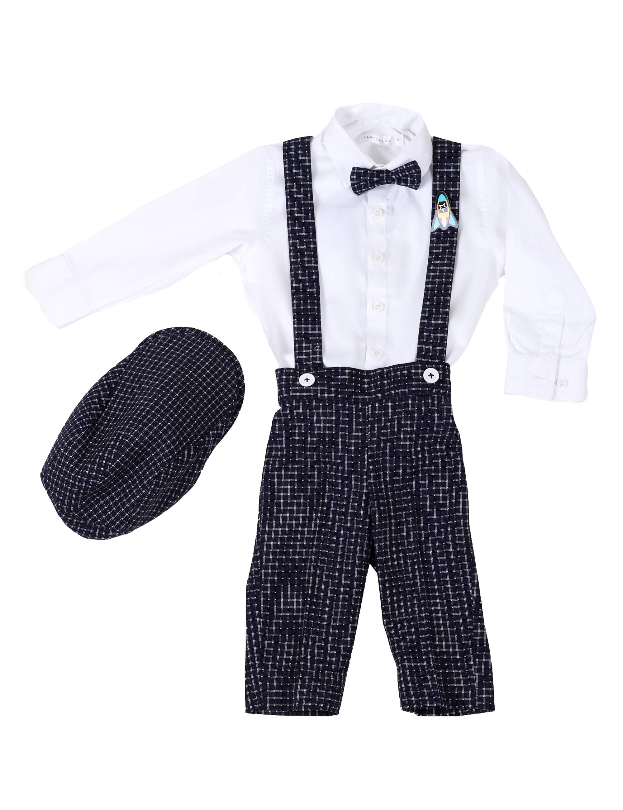 Suspender Pants with Shirt Cap And Bowtie