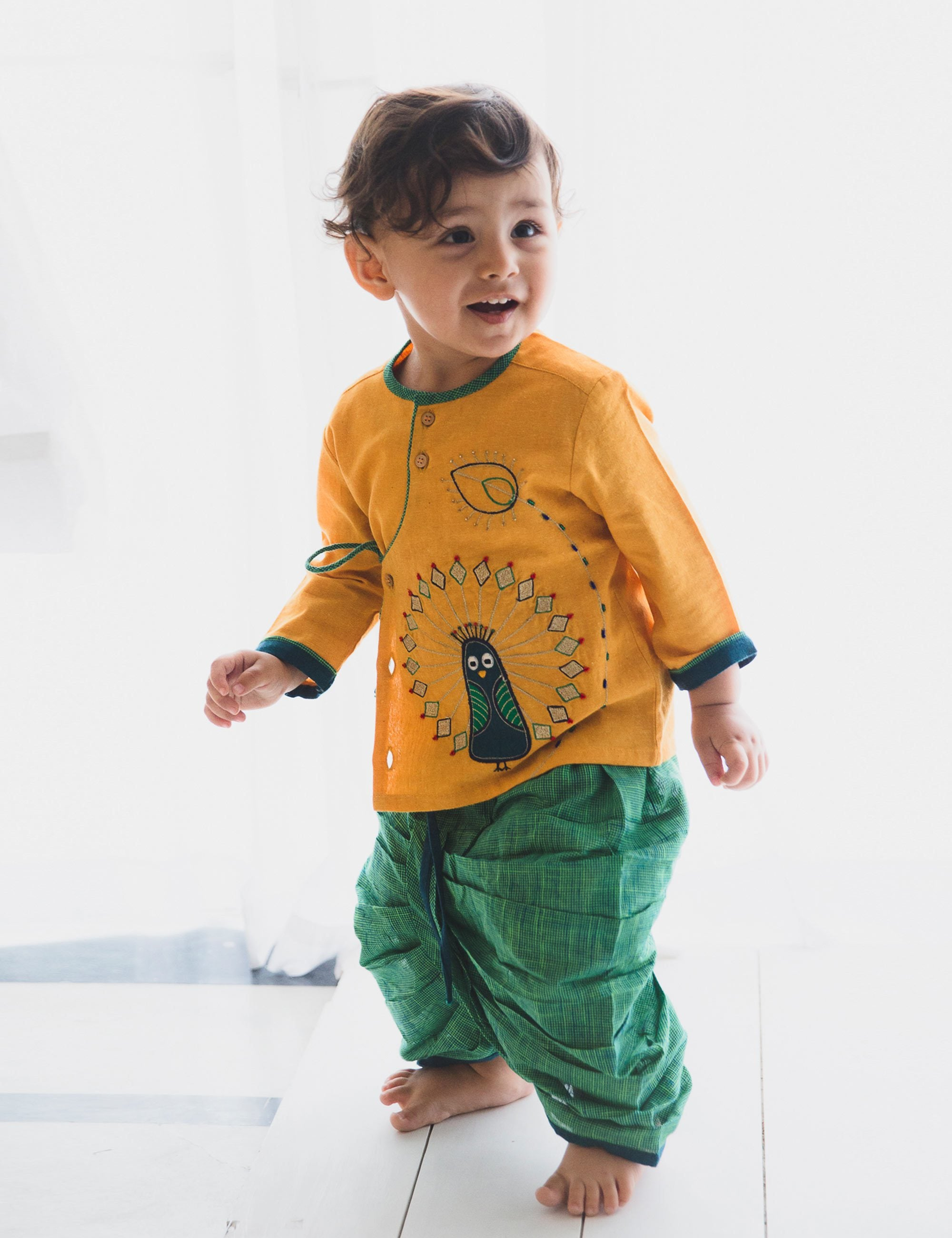 Baby Boy Mustard Peacock Dhoti Set