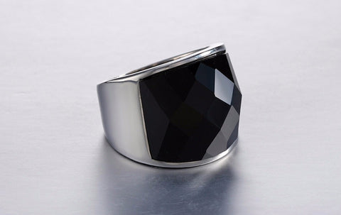Unisex Steel Ring With Black Stone