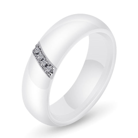 Women's Rounded Ceramic Band (Black and White)