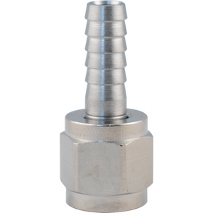 "Stainless Steel Swivel nut and 1/4"" barb for 1/4"" Male Flare Fitting"