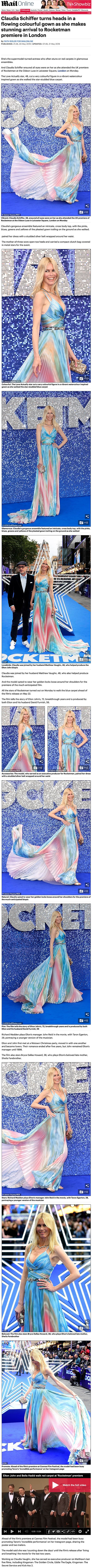 Claudia Schiffer attended to Rocketman premiere in London wearing a triangular motif necklace set with triangle cut Diamonds in blackened 18ct white gold and a rose cut centre Diamond ring surronded by pink starburst guilloché enamel and rose cut Diamonds in 18t red gold Countess ring designed by Solange Azagury-Partridge