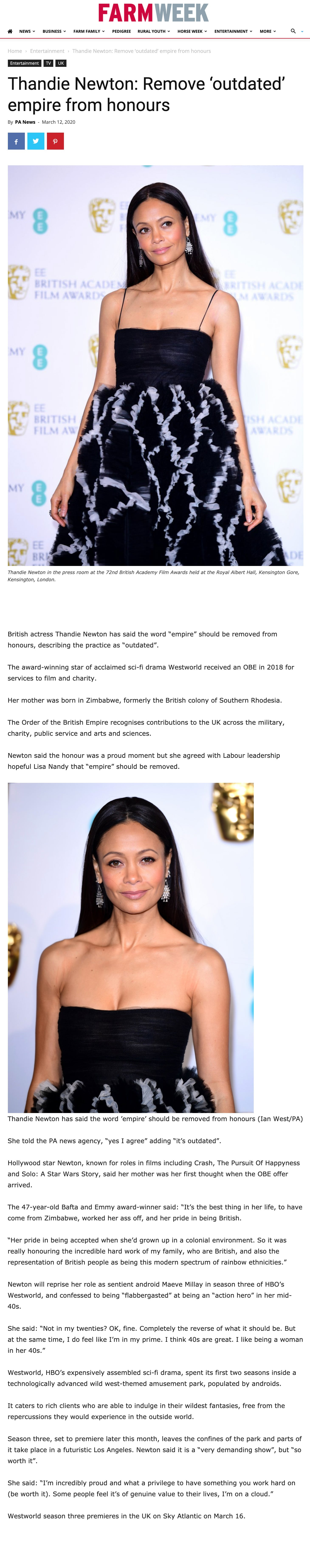 Thandie Newton attended at Bafta wearing a triangle diamonds in 18ct white gold Nimrod earrings designed by Solange Azagury-Partridge