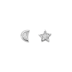 A pair of moon and star shaped diamond stud earrings set in 18 karat white gold by Solange Azagury-Partridge