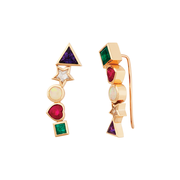 A pair of climbing earrings spelling the word A.D.O.R.E with the gemstones amethyst, diamond, opal, ruby and emerald set in 18 karat yellow gold by Solange Azagury-Partridge