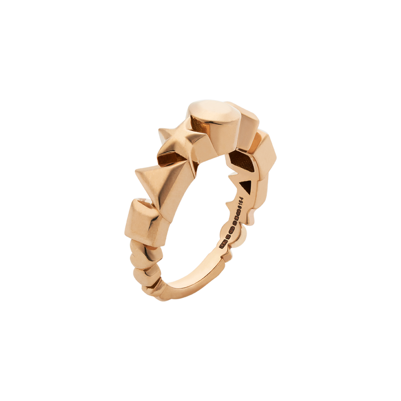 A square, triangle, star, circle, and heart motif ring in 18 karat yellow gold by Solange Azagury-Partridge