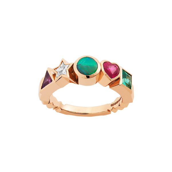 A ring composed of an triangle amethyst, star diamond, round opal, heart ruby and square emerald set in 18 karat red gold by Solange Azagury-Partridge