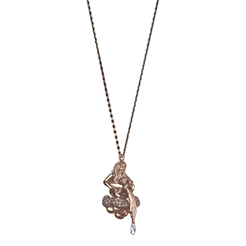A zodiac aquarius motif pendant composed of figure of a woman spills water from a flagon with briolette diamond drops seated on a cloud set with diamond pavé in 18 karat rose gold by Solange Azagury-Partridge