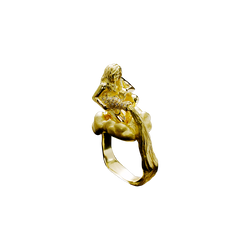 A zodiac aquarius motif ring composed of figure of a woman spills water from a flagon with diamond pavé seated on a cloud in 18 karat yellow gold by Solange Azagury-Partridge