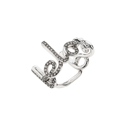 "A written ring with the words ""beloved"" with diamonds pavé in 18 karat white gold by Solange Azagury-Partridge"