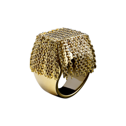 A tall woven ring with chain fringe sprinkled with diamonds in 18 karat yellow gold by Solange Azagury-Partridge