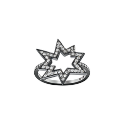A star motif ring set with brilliant cut diamonds in blackened 18 karat white gold by Solange Azagury-Partridge