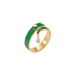 A blade of grass shaped ring made from enamel and a pear shaped diamond in 18 karat yellow gold by Solange Azagury-Partridge