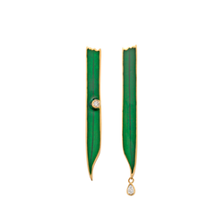 Blade Green Enamel Earrings